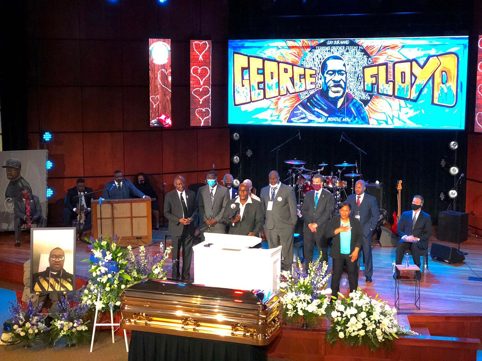 George Floyd's family speak during a memorial service for Floyd in Minneapolis, on June 4
