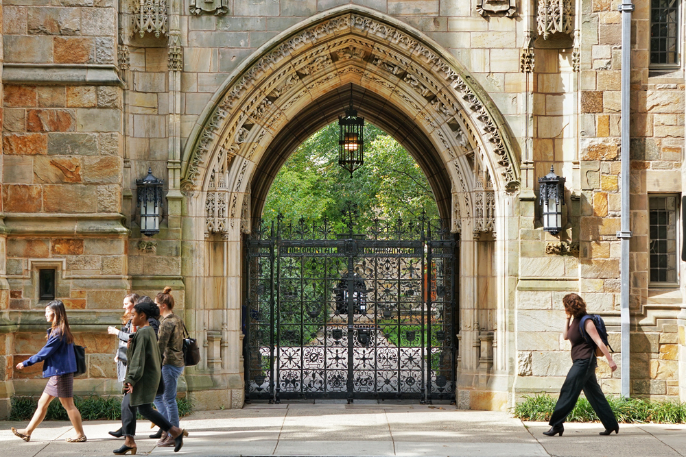 In this file photo, students walk near Yale University in New Haven, Connecticut.