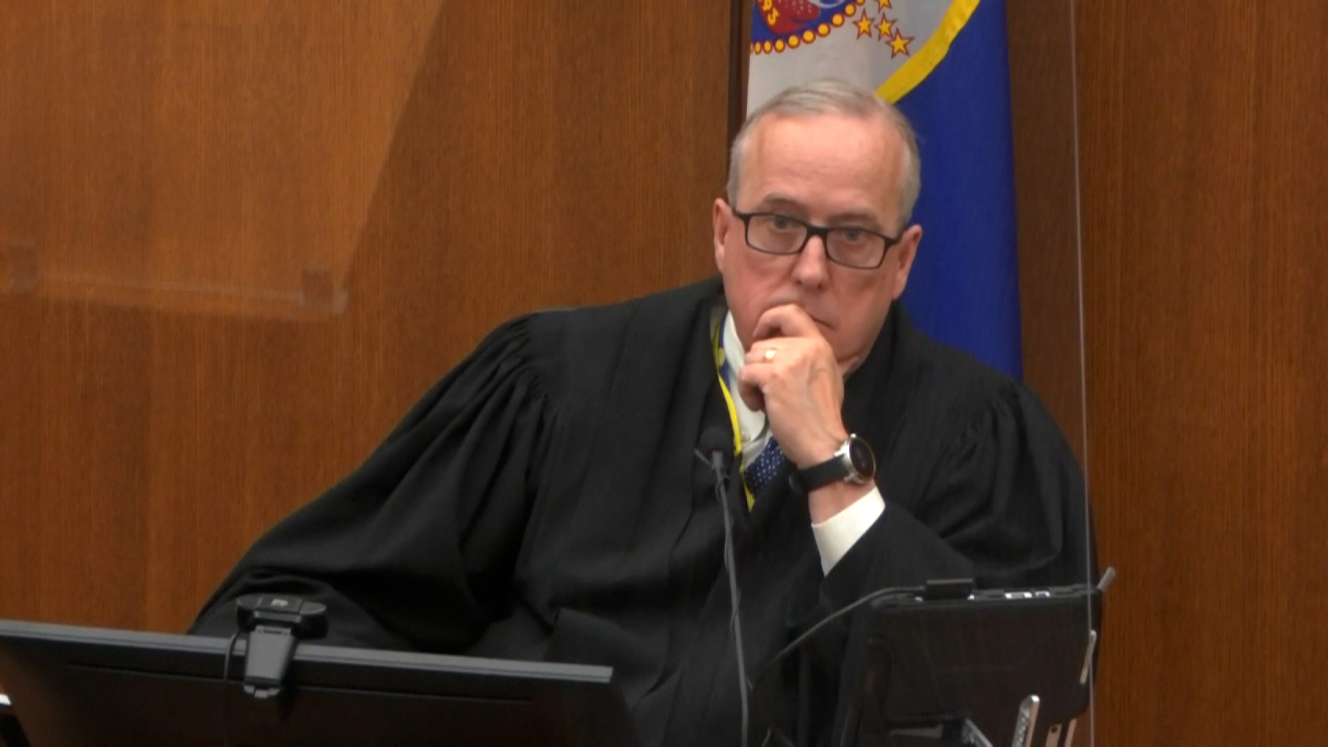 Judge Peter Cahill listens during court proceedings on Monday, April 12.
