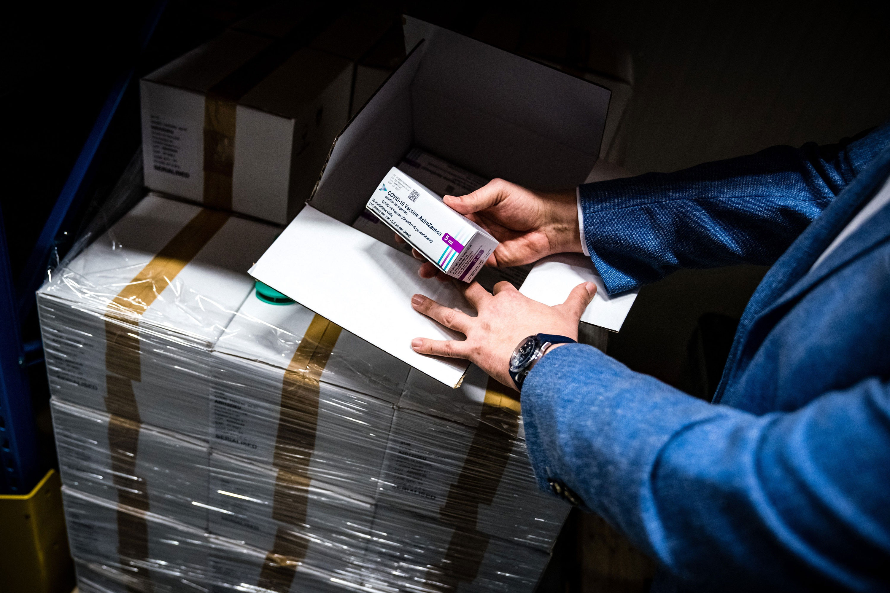 Boxes of AstraZeneca vaccines are seen in cold storage in Oss, Netherlands on April 6.