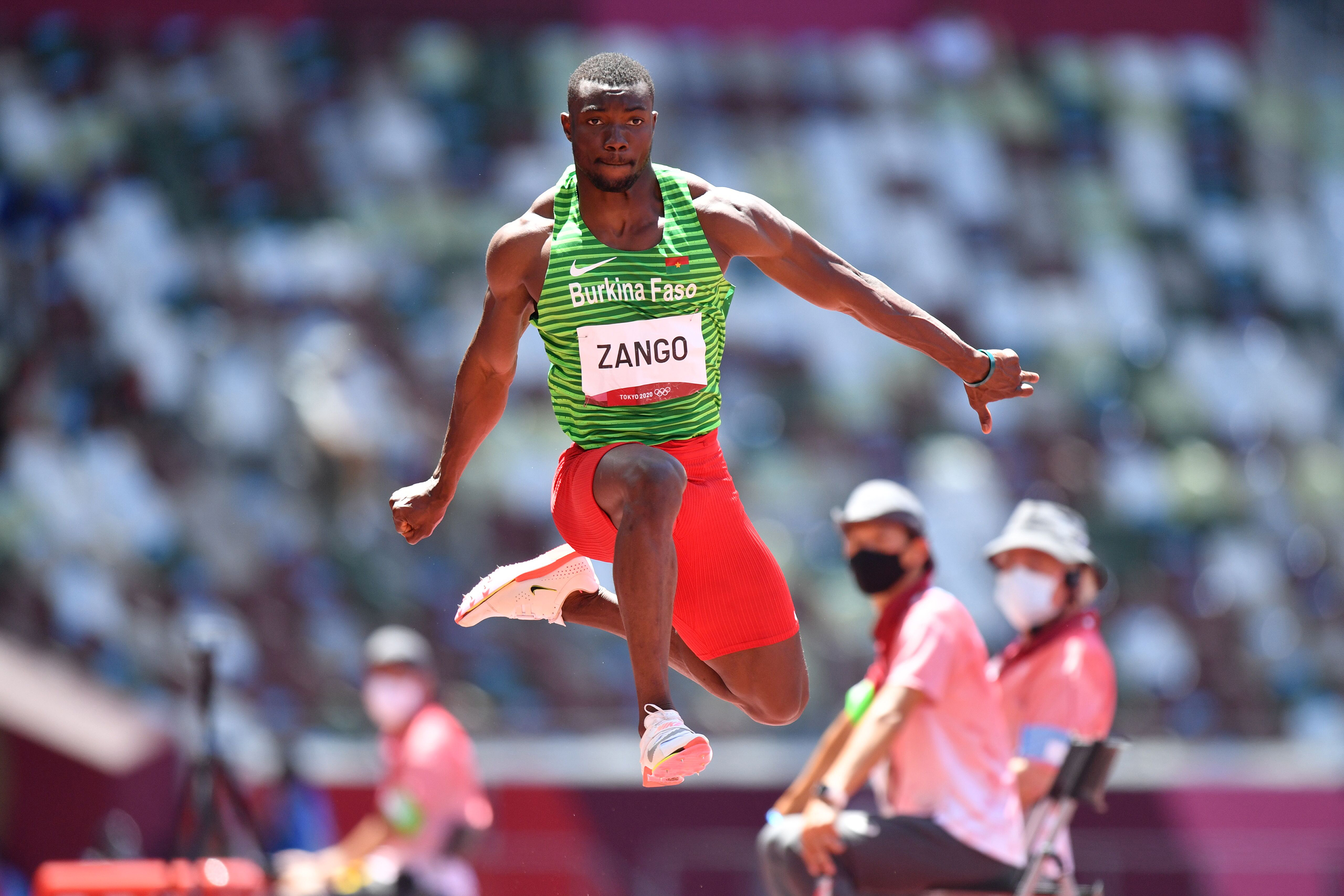 Burkina Faso's Hugues Fabrice Zango competes in the triple jump final on Thursday, August 5.