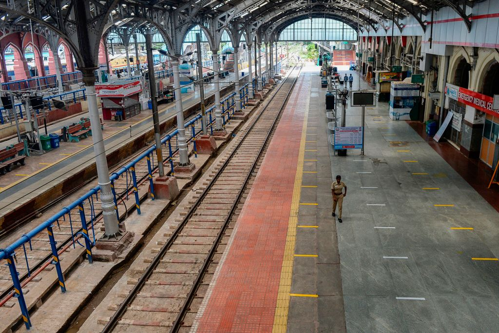 A train platform at a railway station, roped off with social distancing tape, in Chennai, India, on April 27.