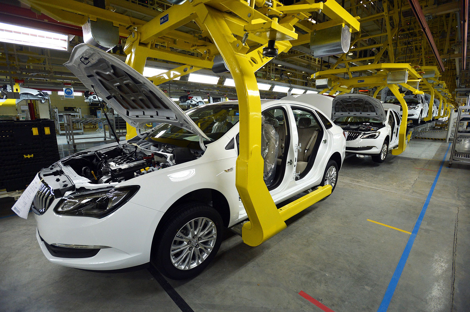 General Motors cars are assembled at an auto plant in Wuhan.