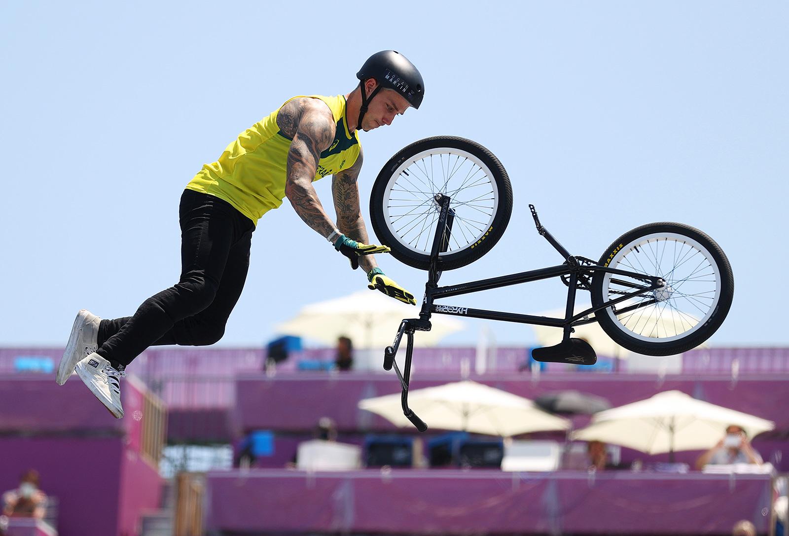 Australian biker Logan Martin performs a trick during the BMX freestyle men's final on Sunday.
