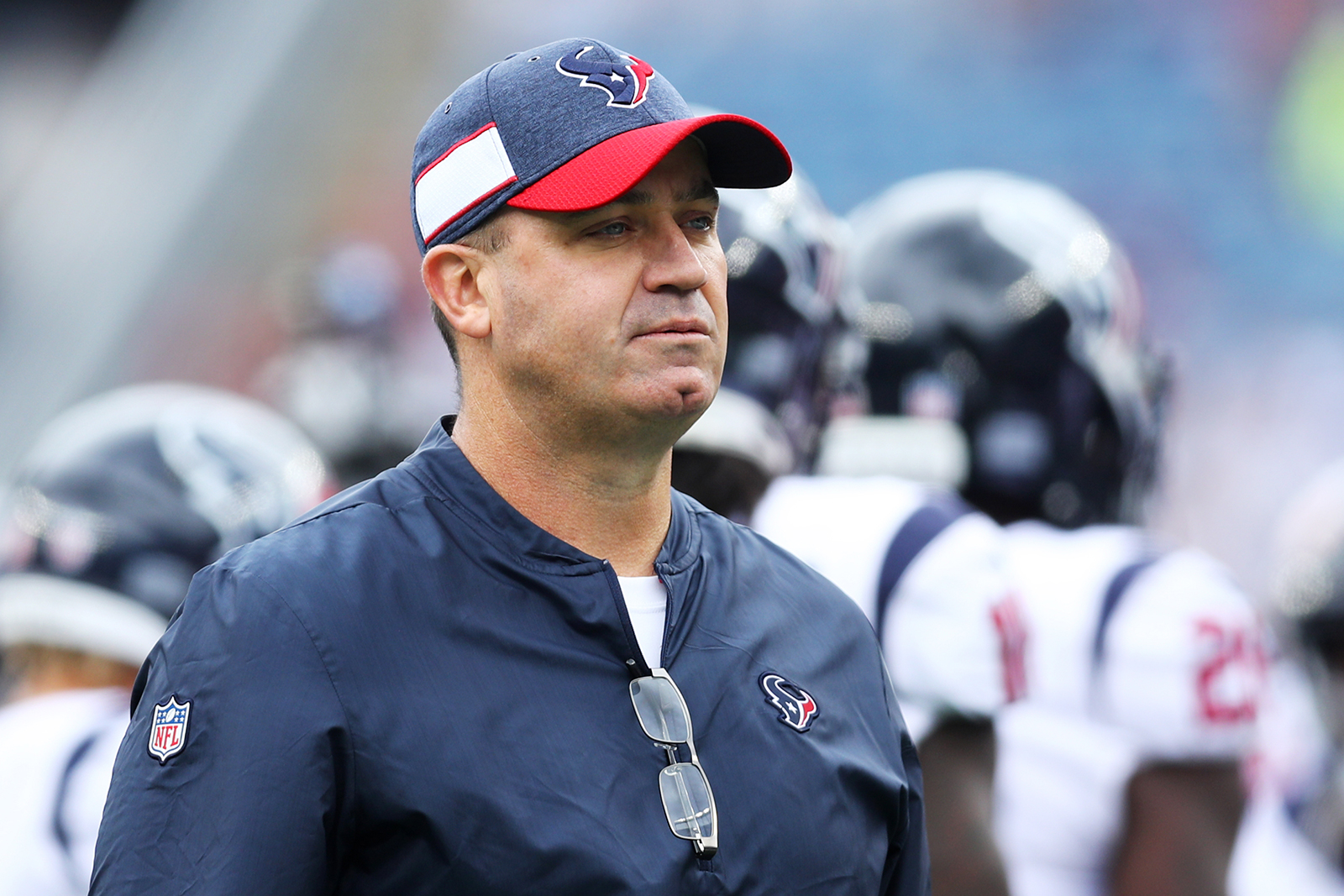 Head coach Bill O'Brien of the Houston Texans looks on before the game against the New England Patriots at Gillette Stadium in Foxborough, Massachusetts, on September 9, 2018.