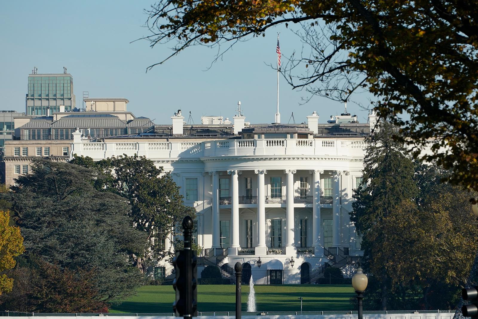 The White House in Washington, Saturday Nov 7.