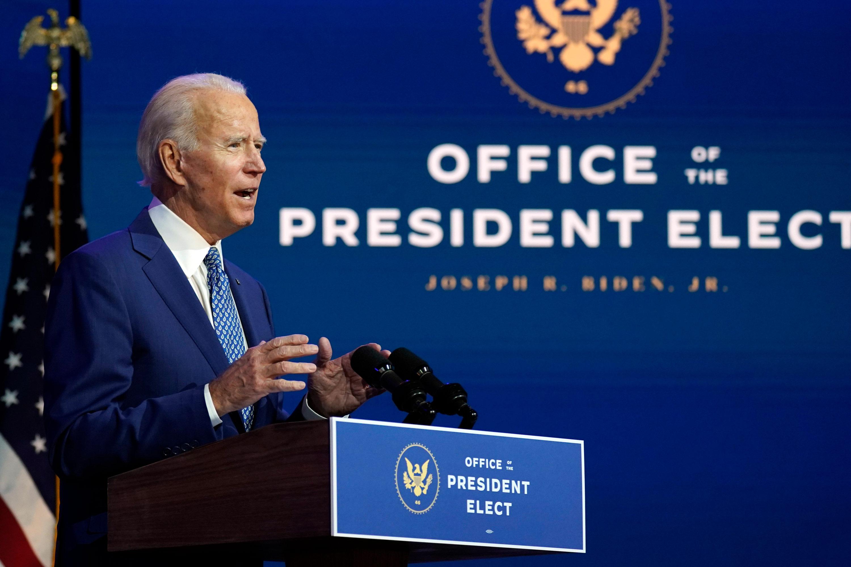 President-elect Joe Biden speaks on November 9 at The Queen theater in Wilmington, Delaware.