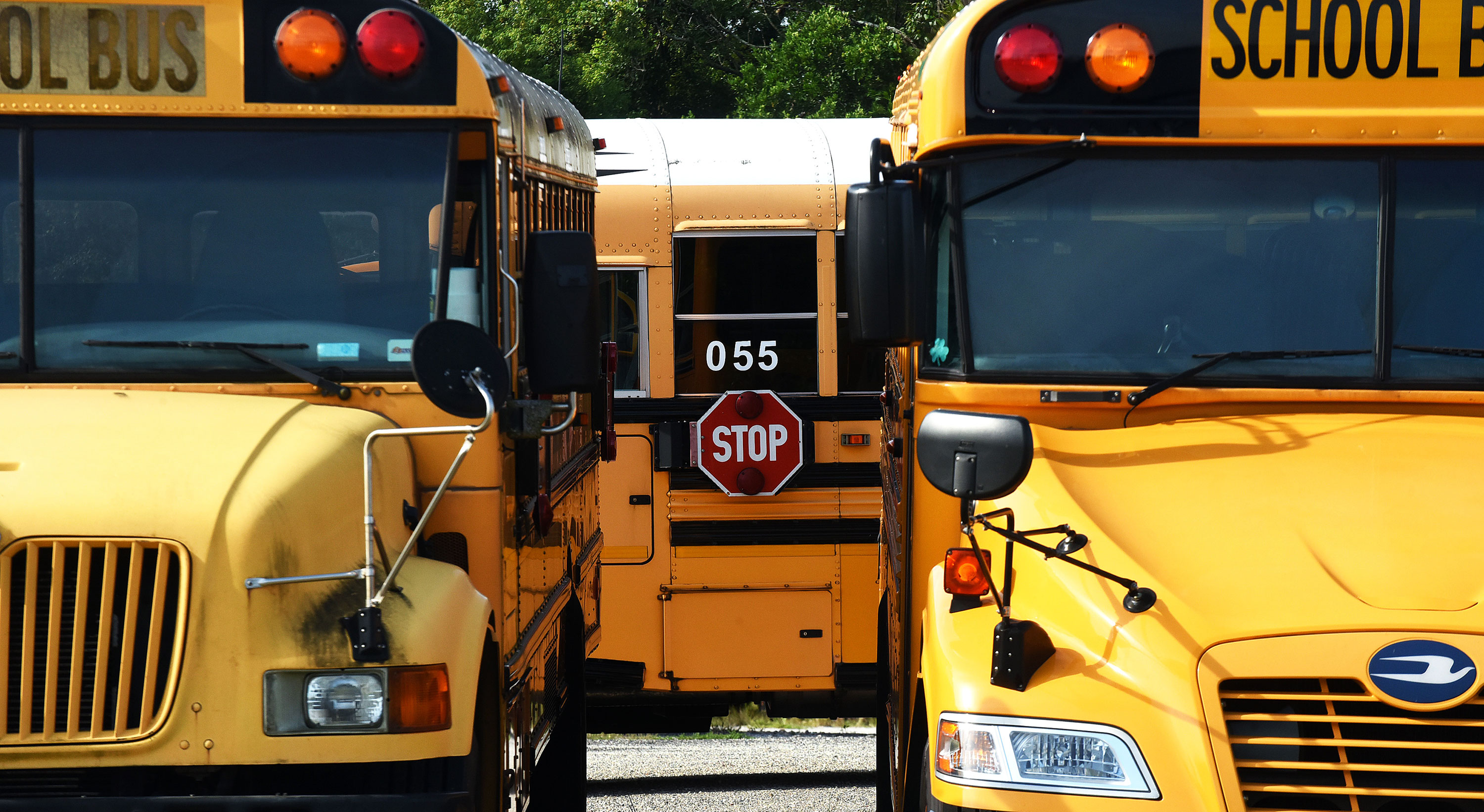 School buses are seen parked at a school in Winter Springs, Florida, in August 2020.
