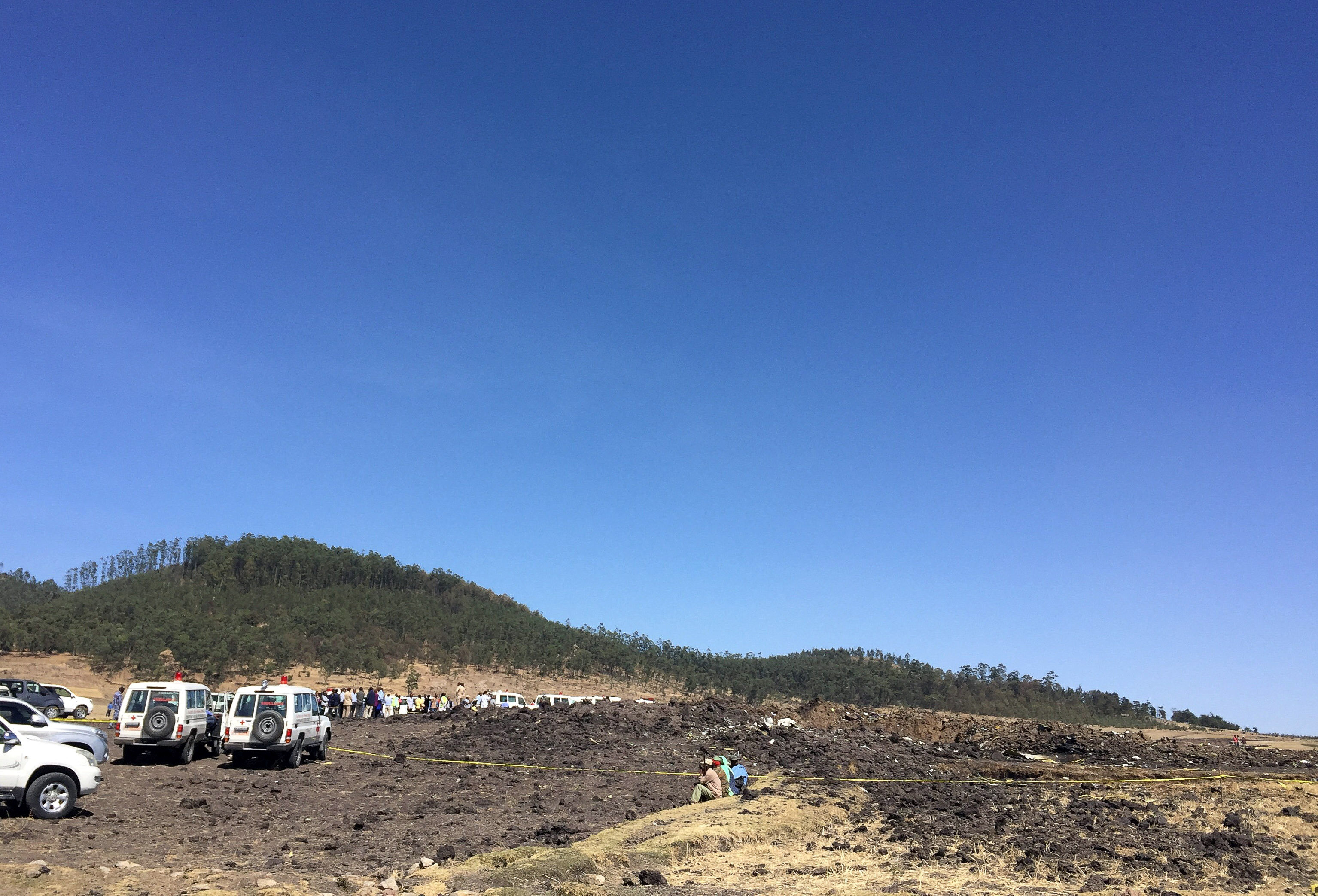 A general view shows the scene of the Ethiopian Airlines Flight ET 302 plane crash, near the town of Bishoftu, southeast of Addis Ababa, Ethiopia on March 10, 2019.