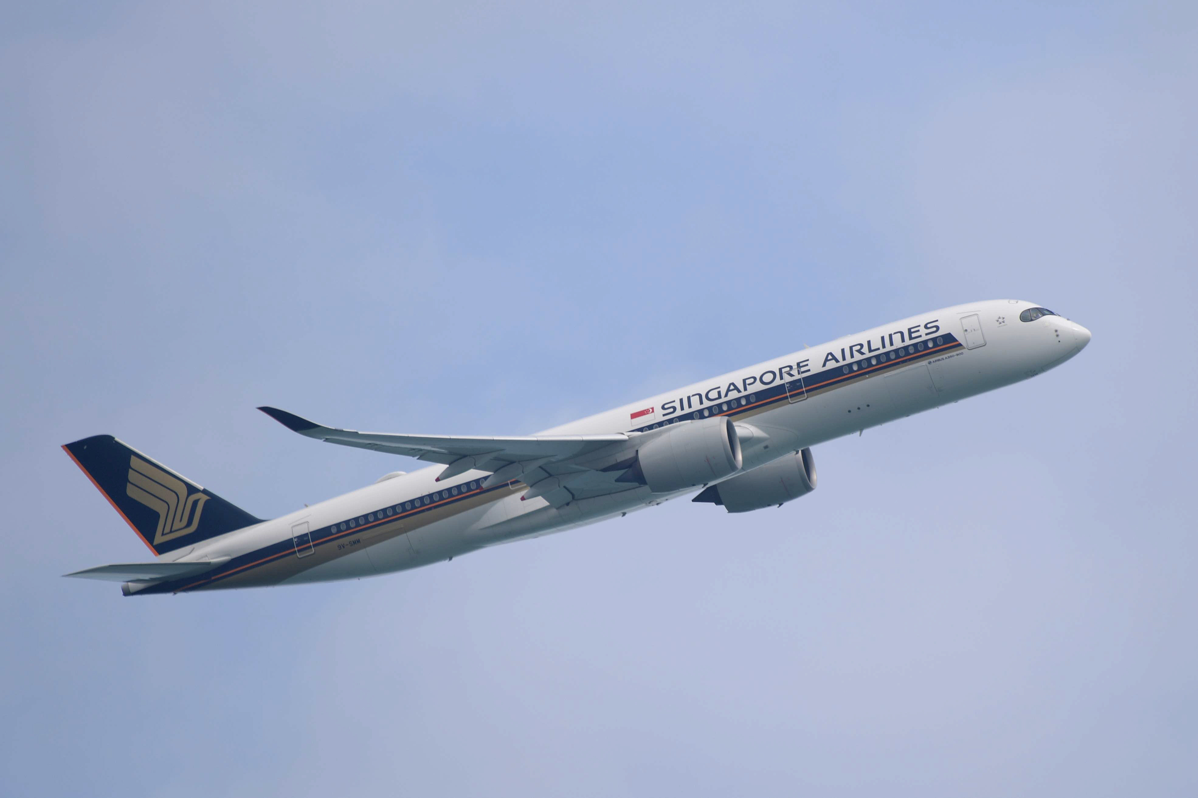 A Singapore Airlines Airbus A350-900 passenger plane takes off from Changi International Airport in Singapore.