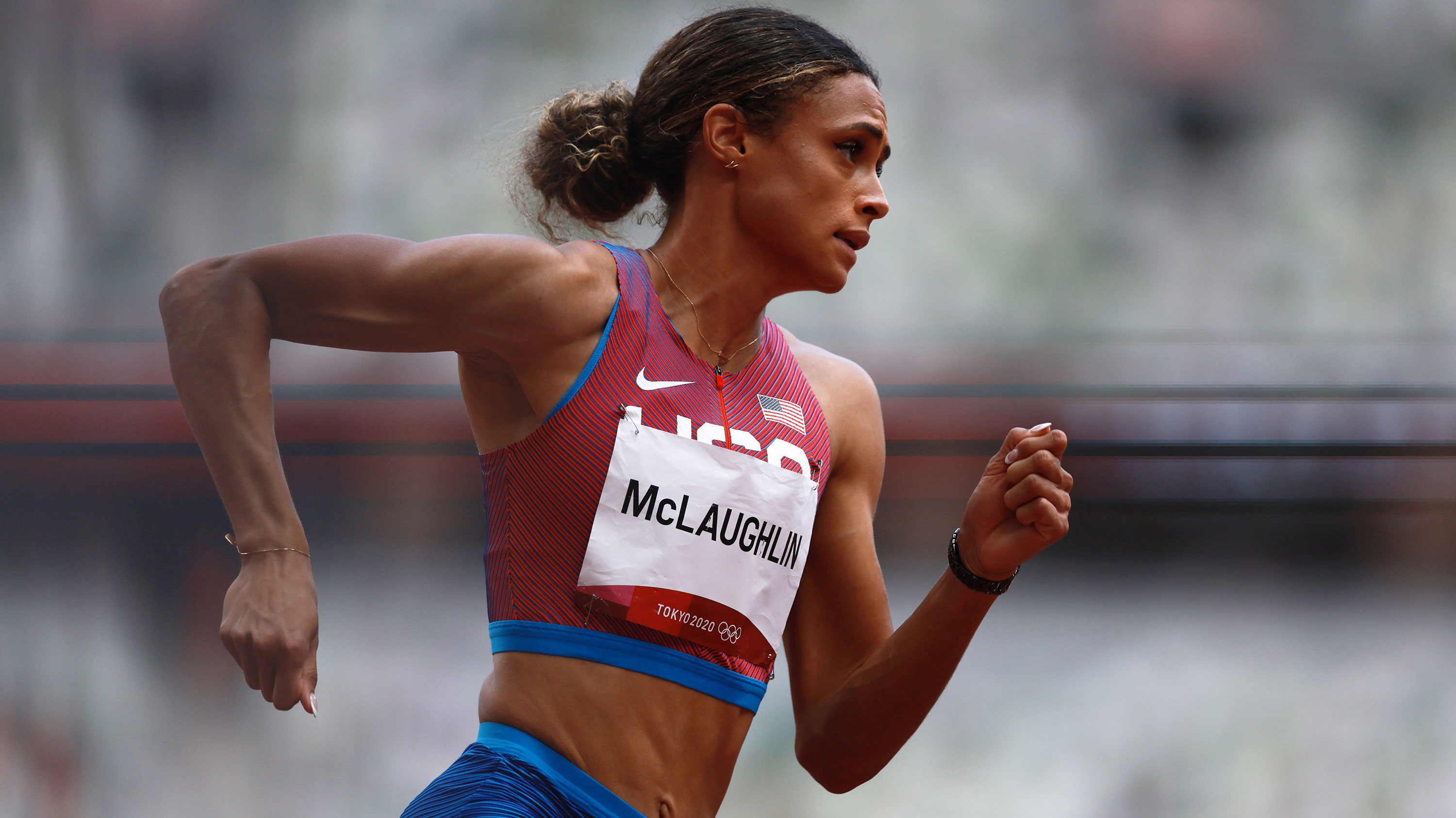 American Sydney McLaughlin competes in the 400 meters hurdles final on August 4.