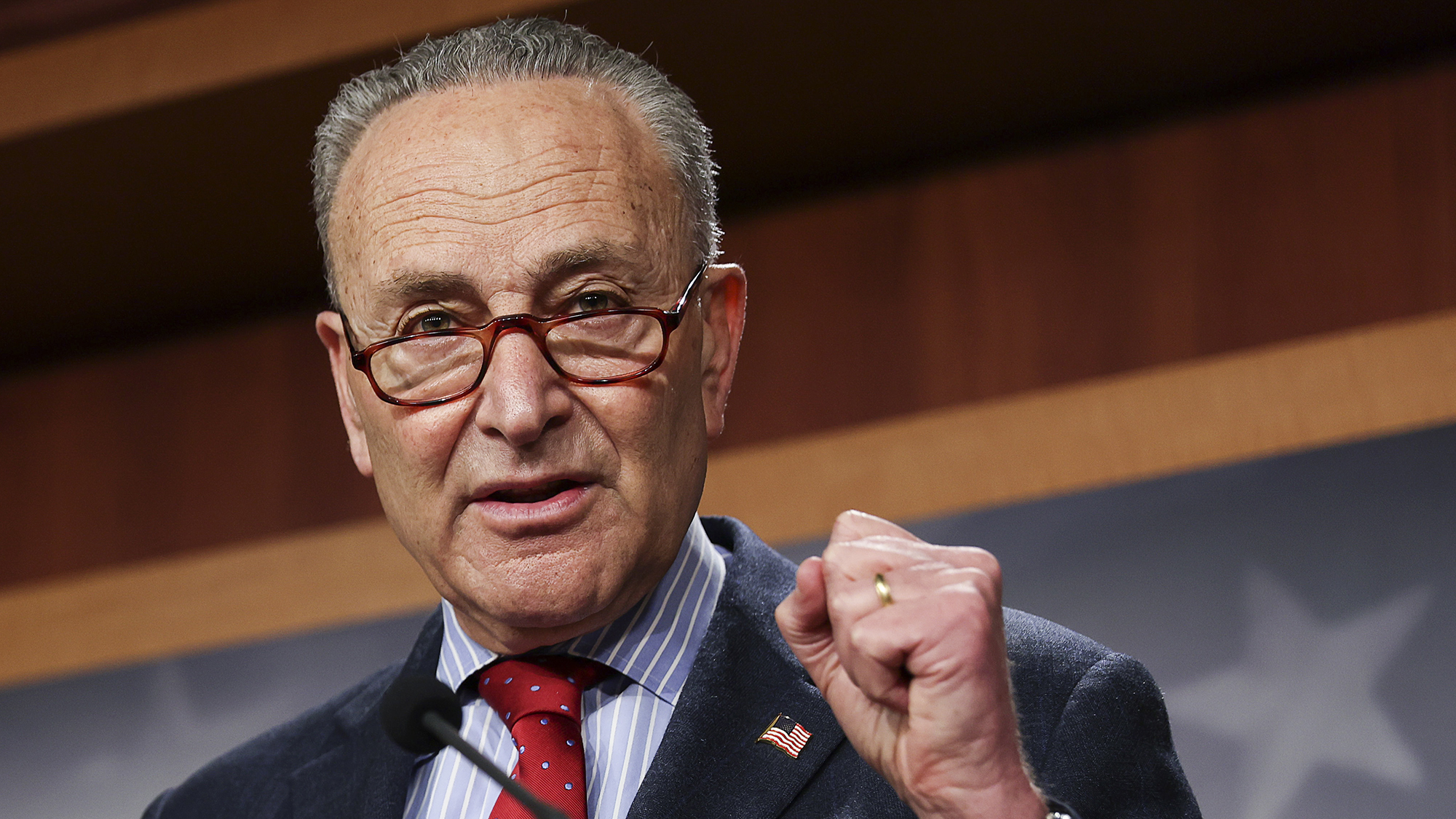 Senate Majority Leader Chuck Schumer (D-NY) speaks about Senate Democrats legislative accomplishments as he holds a news conference at the U.S. Capitol on March 25,  in Washington, DC.