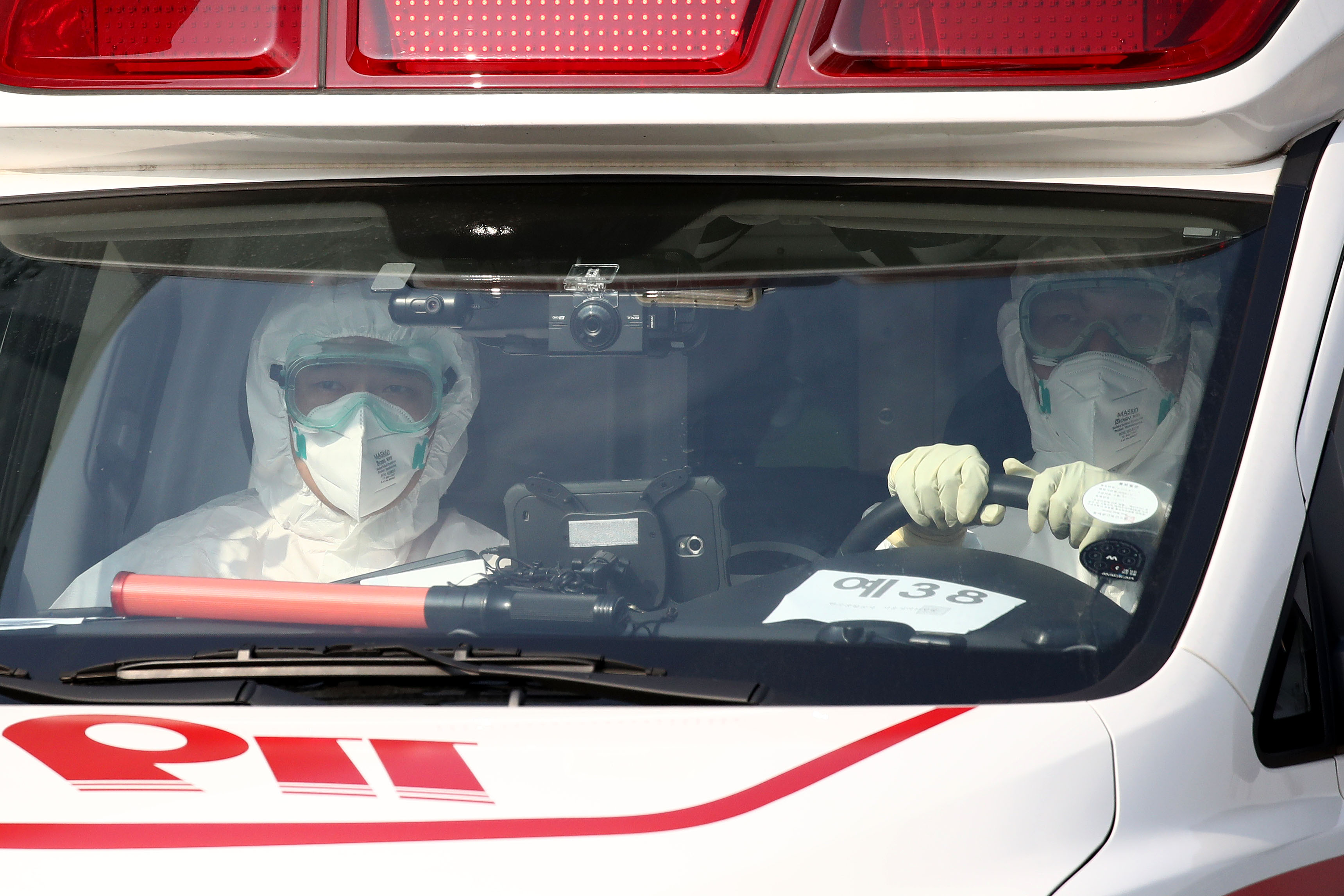 An ambulance in Seoul carrying a South Korean citizen evacuated from Wuhan, China, on January 31.