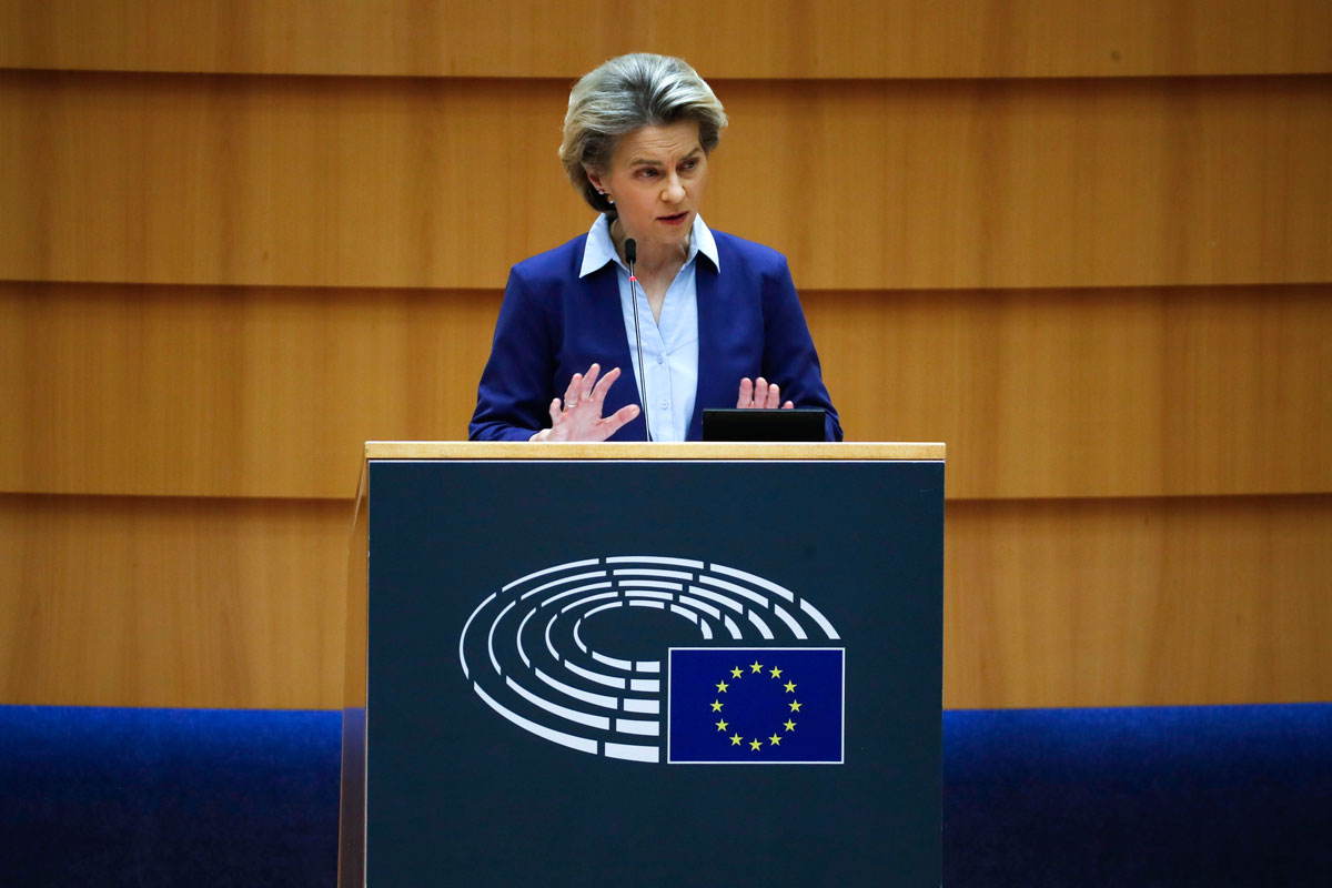 European Commission President Ursula von der Leyen speaks during a debate on the united EU approach to Covid-19 vaccinations at the European Parliament in Brussels on February 10.