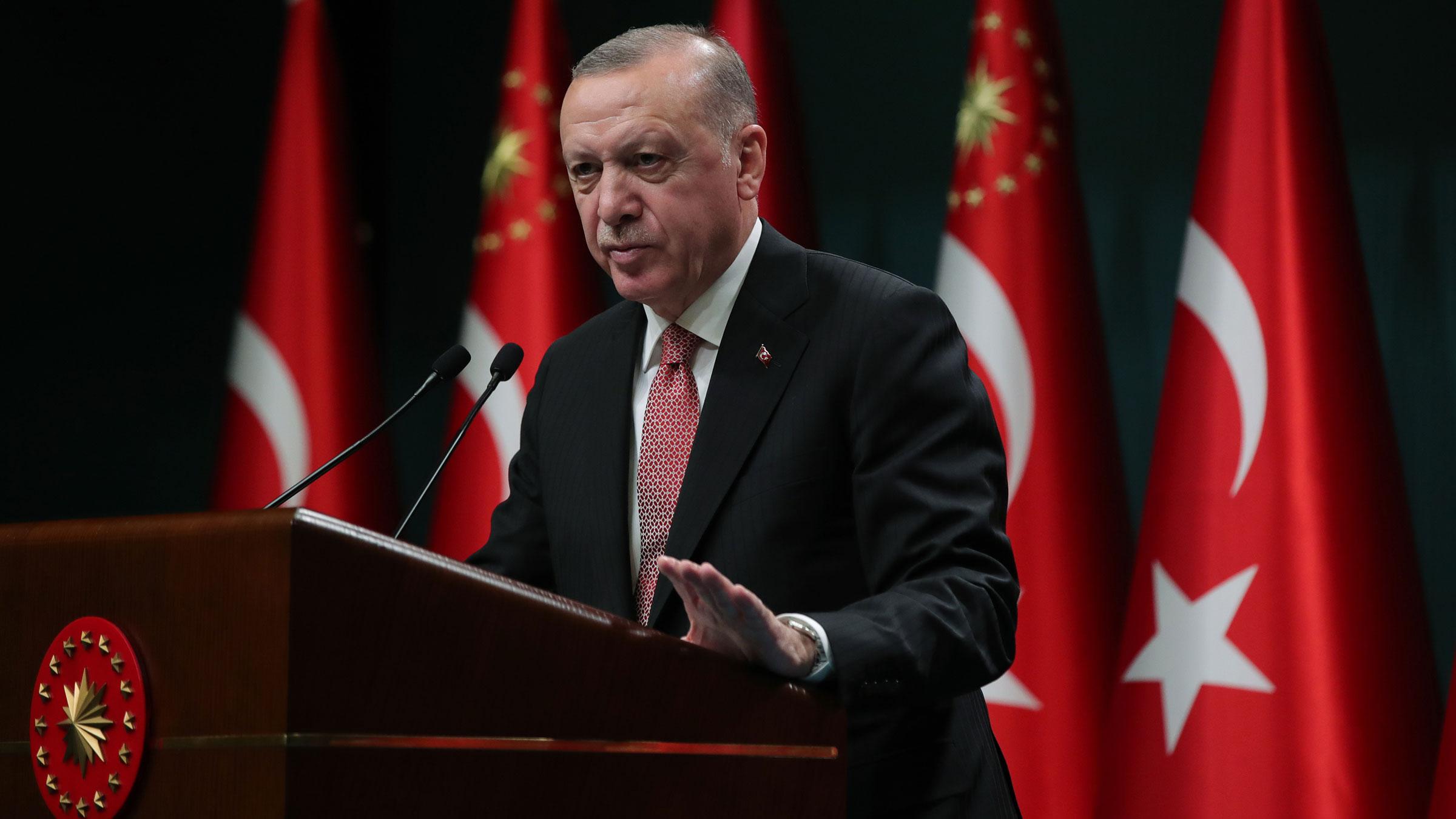 Turkish President Recep Tayyip Erdogan speaks at a news conference in Ankara, Turkey, on Monday.