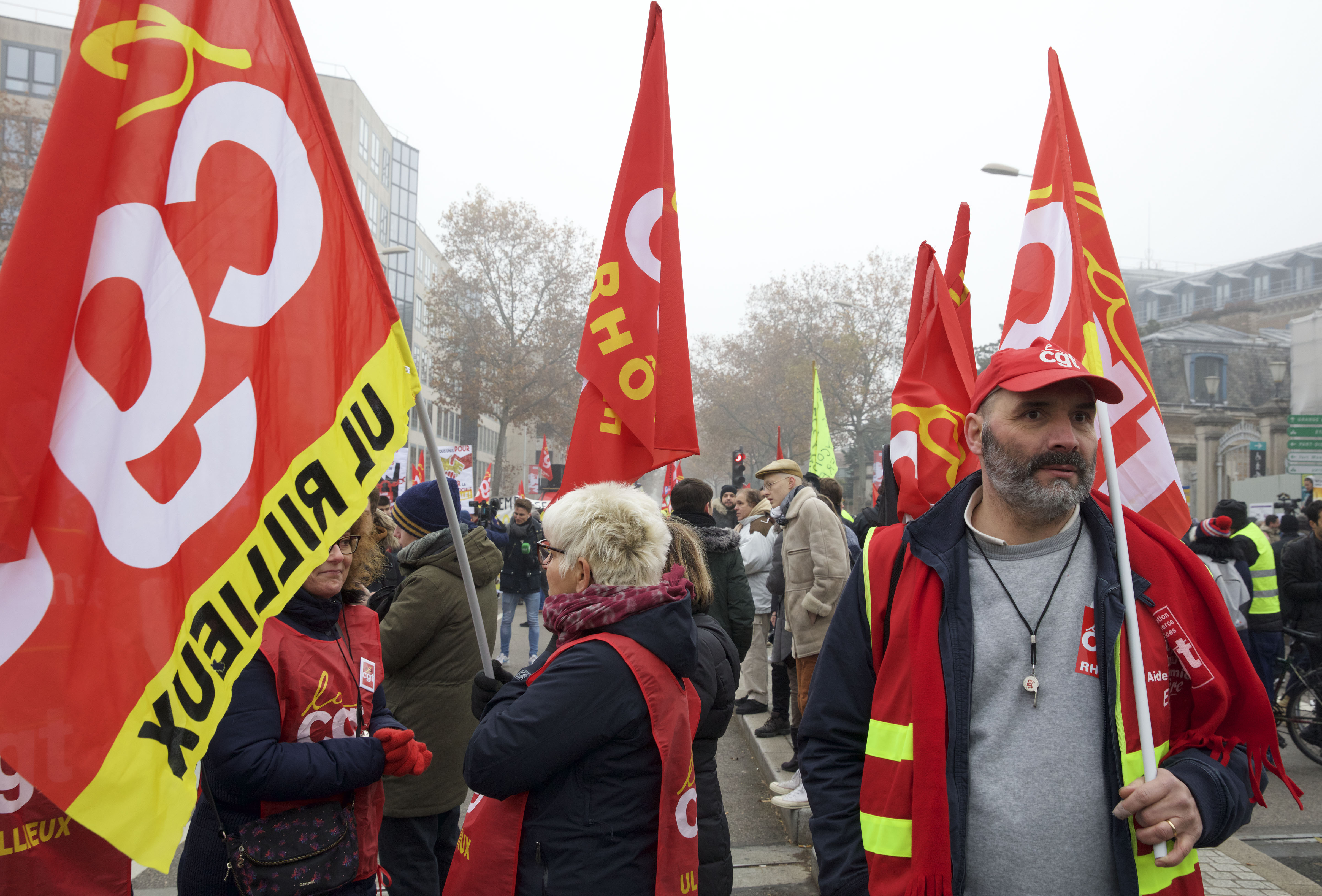 Members of France's CGT union hit the streets in Lyon. Photo: James Colburn/ZUMA Wire