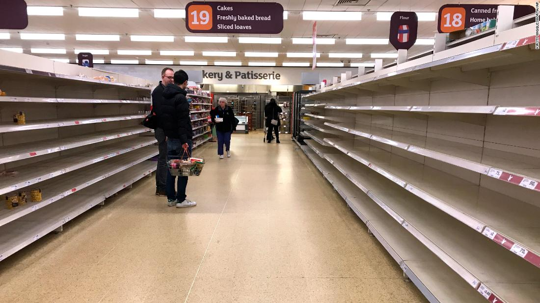 Empty shelves where the bread should be in a supermarket in London.