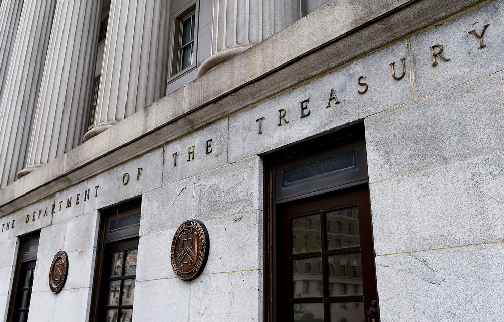 An exterior view of the building of US Department of the Treasury is seen on March 27 in Washington, DC.