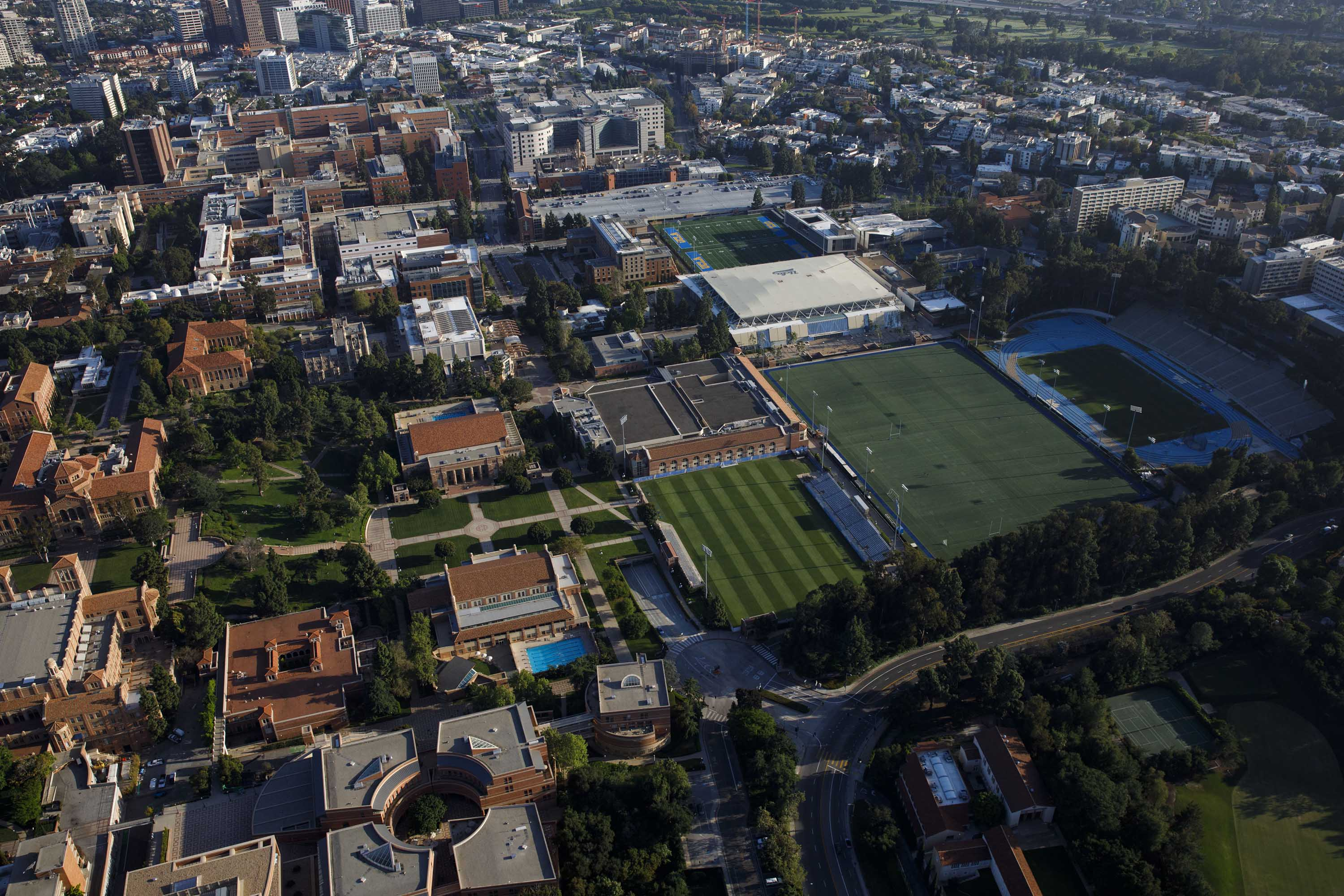 An aerial view shows the University of California Los Angeles (UCLA) campus in Los Angeles, California, on May 1.