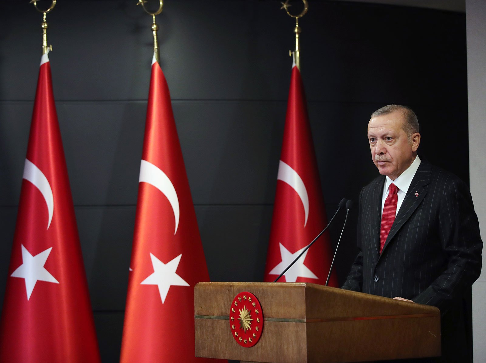 Turkish President Recep Tayyip Erdogan speaks during a press conference on April 6 in Istanbul, Turkey.