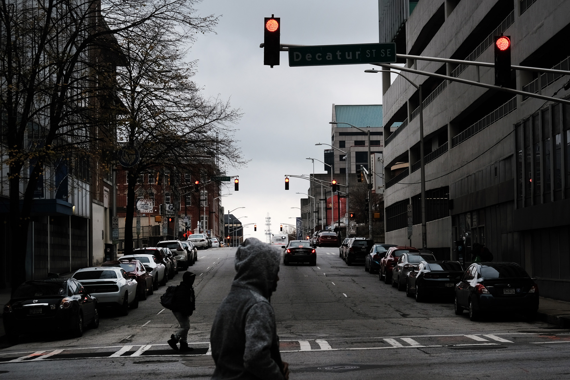 Few people walk through the streets of downtown Atlanta on December 7, 2020.