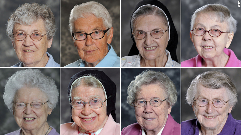 Eight nuns at the Notre Dame of Elm Grove in Wisconsin died of Covid-19 in a week. From top left: Sister Cynthia Borman, Sister Rose M. Feess, Sister Joan Emily Kaul, Sister Lillia Langreck; from bottom left: Sister Dorothy MacIntyre, Sister Mary Alexius Portz, Sister Mary Elva Wiesner, Sister Michael Marie Laux