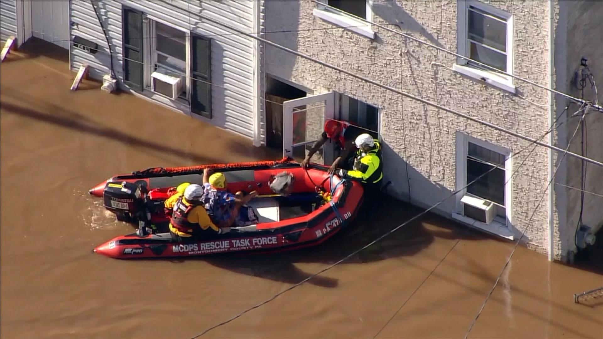 People are rescued in Bridgeport, Pennsylvania, on September 2.
