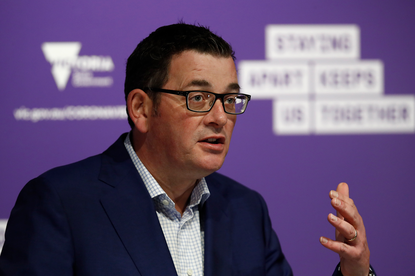 Premier of Victoria Daniel Andrews speaks to the media during the daily briefing on July 10, in Melbourne.