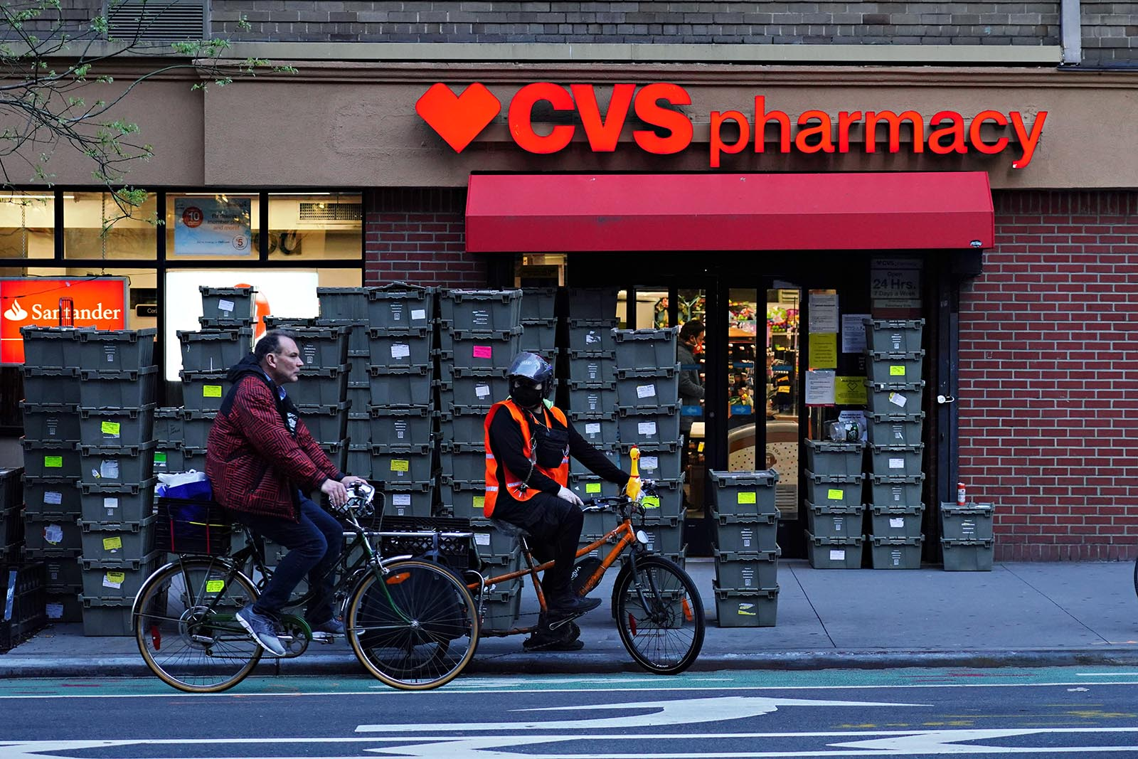Crates are stacked up outside of CVS Pharmacy during the coronavirus pandemic on May 1, 2020 in New York City.