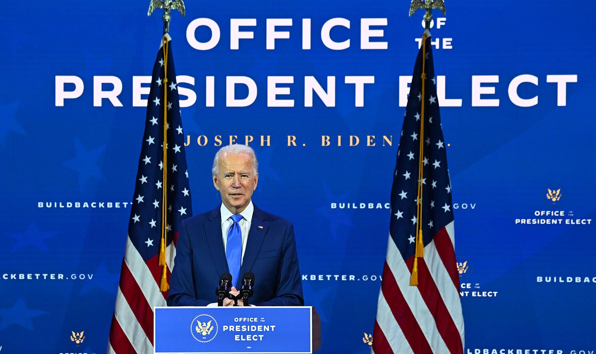 U.S. President-elect Joe Biden announces his economic team at The Queen Theater in Wilmington, Delaware, on December 1.