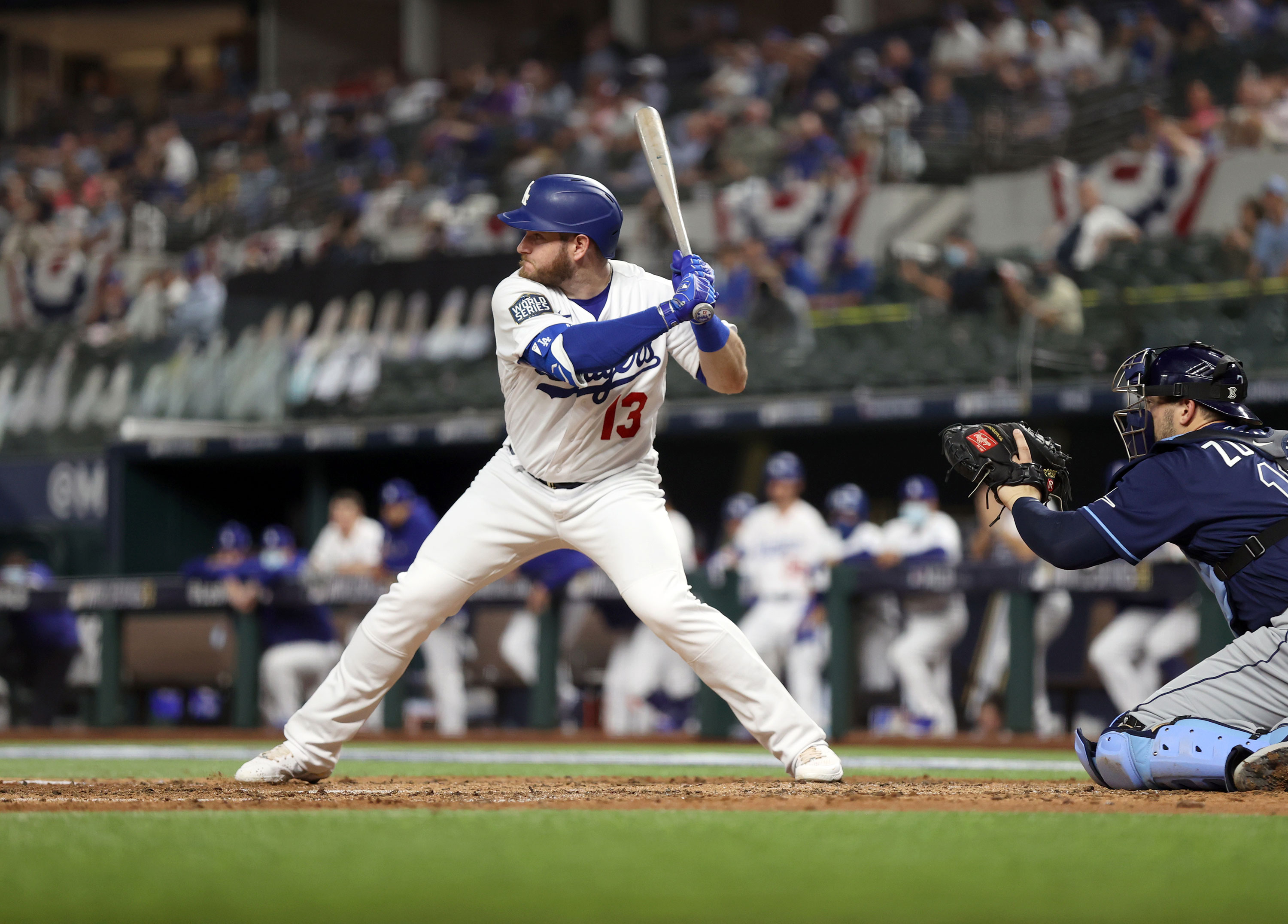 Max Muncy of the Los Angeles Dodgers bats during Game 1 of the 2020 World Series between the Los Angeles Dodgers and the Tampa Bay Rays on October 20 in Arlington, Texas.