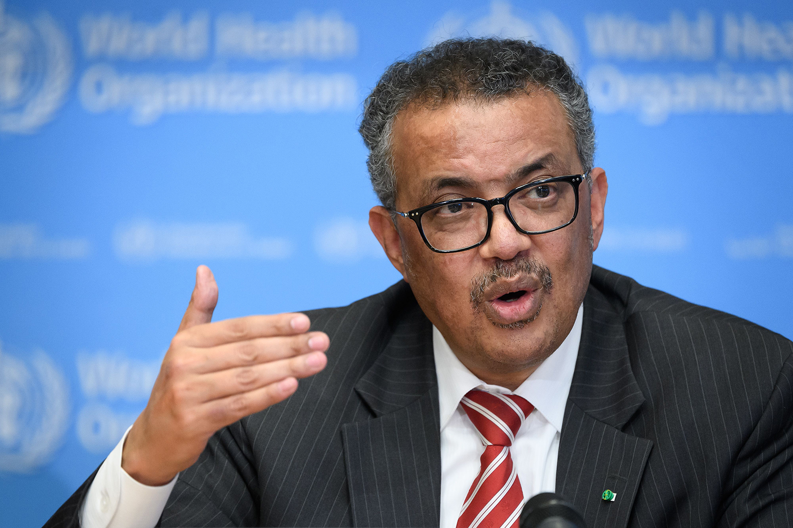 World Health Organization (WHO) Director-General Tedros Adhanom Ghebreyesus talking during a press briefing on Covid-19 at the WHO headquarters in Geneva, Switzerland, on March 11.