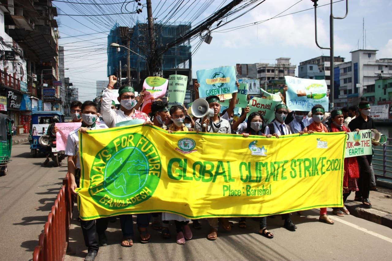 Protesters in Barishal, Bangladesh join the global climate protests on September 24.