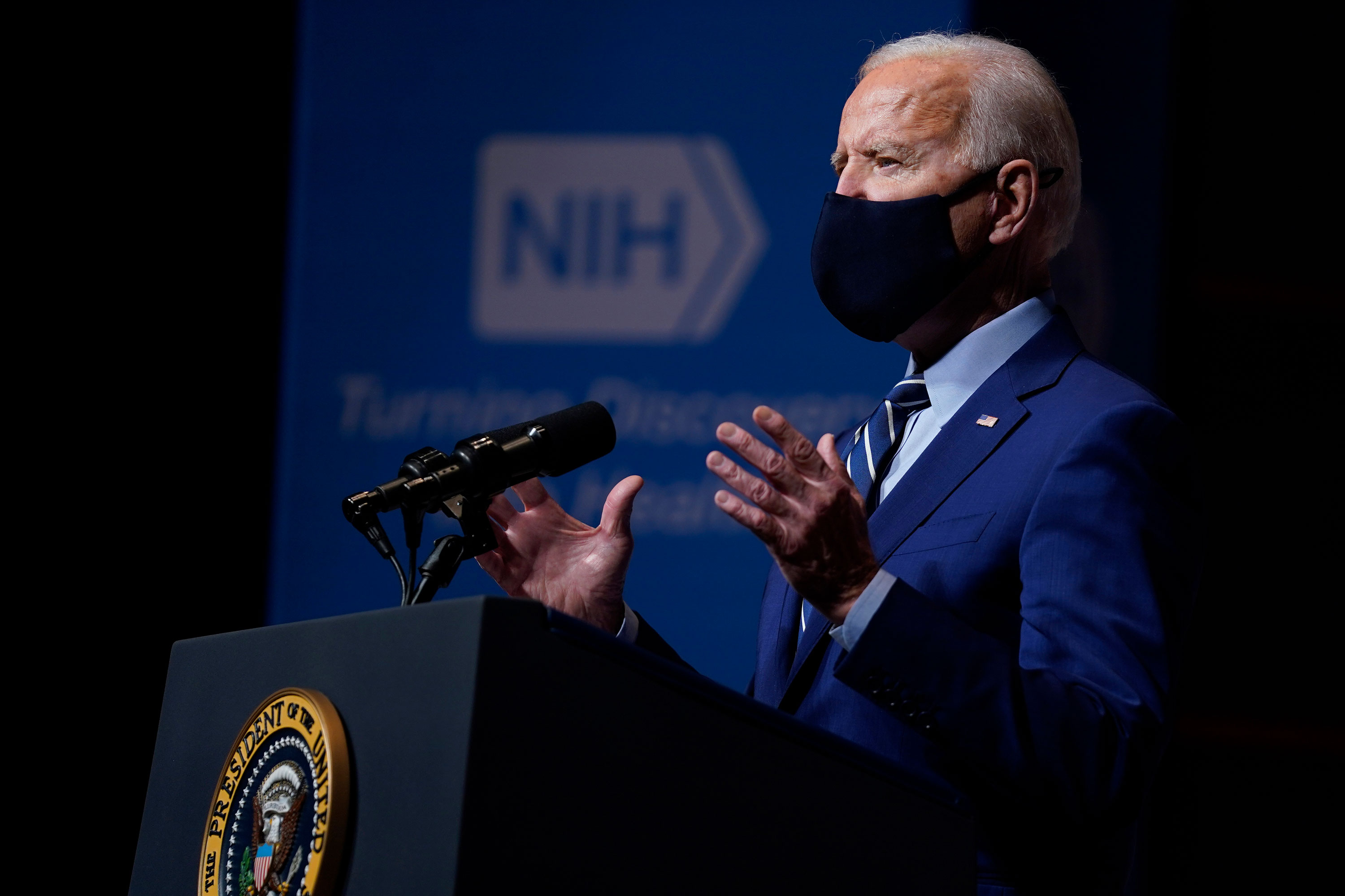 President Joe Biden speaks at the National Institutes of Health in Bethesda, Maryland, on February 11.