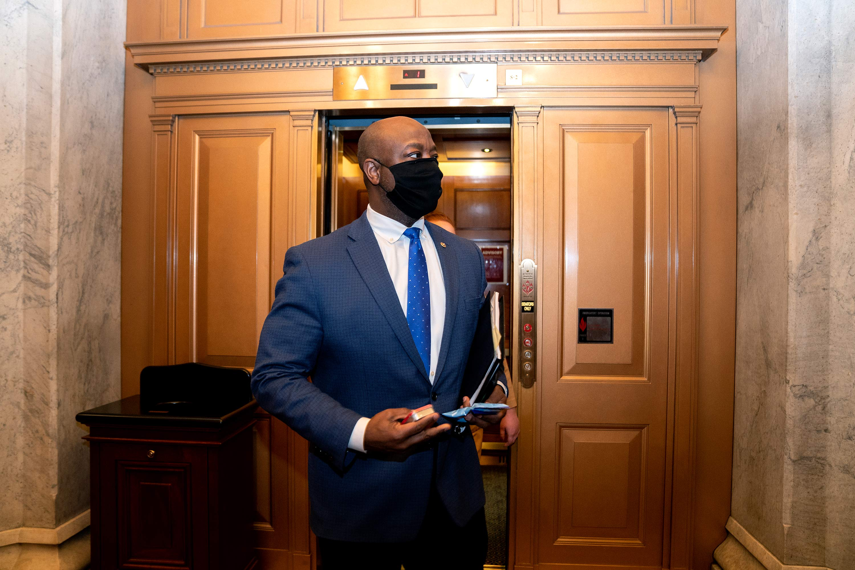 Sen. Tim Scott departs the U.S. Capitol on February 13 in Washington, D.C.