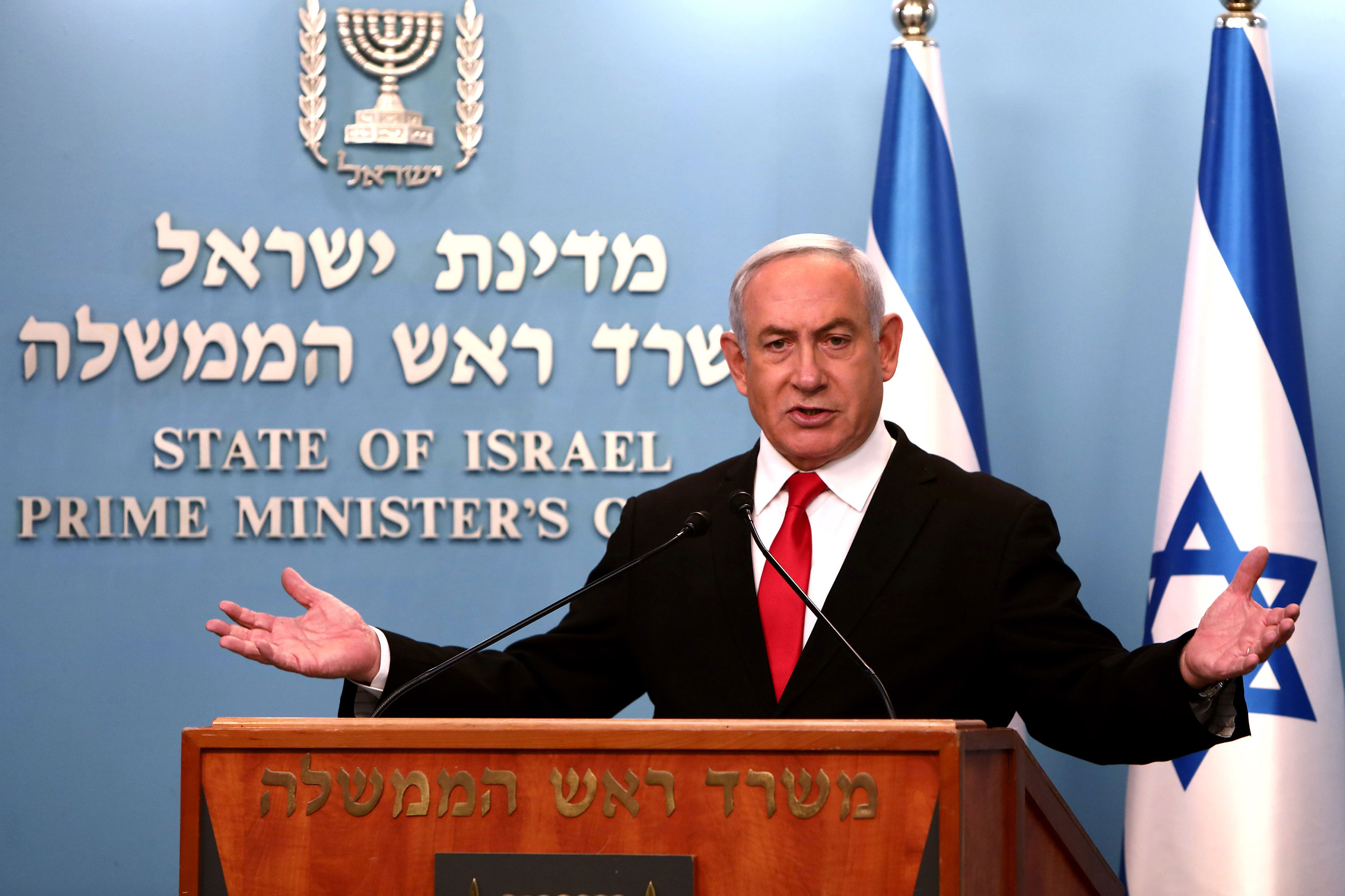 Israeli Prime Minister Benjamin Netanyahu delivers a speech at his Jerusalem office on March 14, regarding the new measures that will be taken to fight coronavirus in Israel.