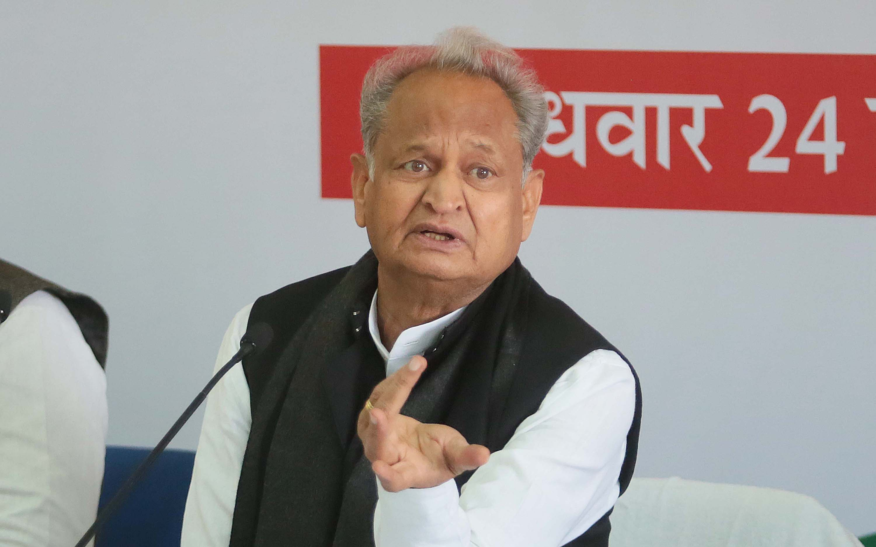Rajasthan Chief Minister Ashok Gehlot is pictured addressing the media in Jaipur, India, on February 24.