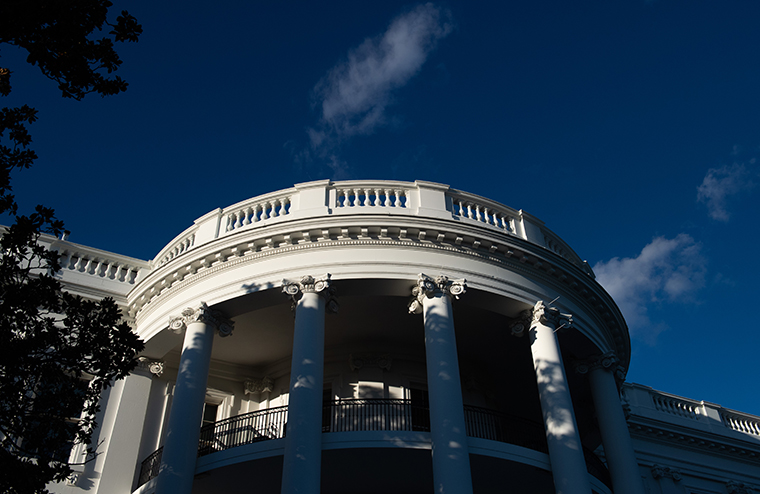 The White House is seen in Washington, DC, October 2, 2020.