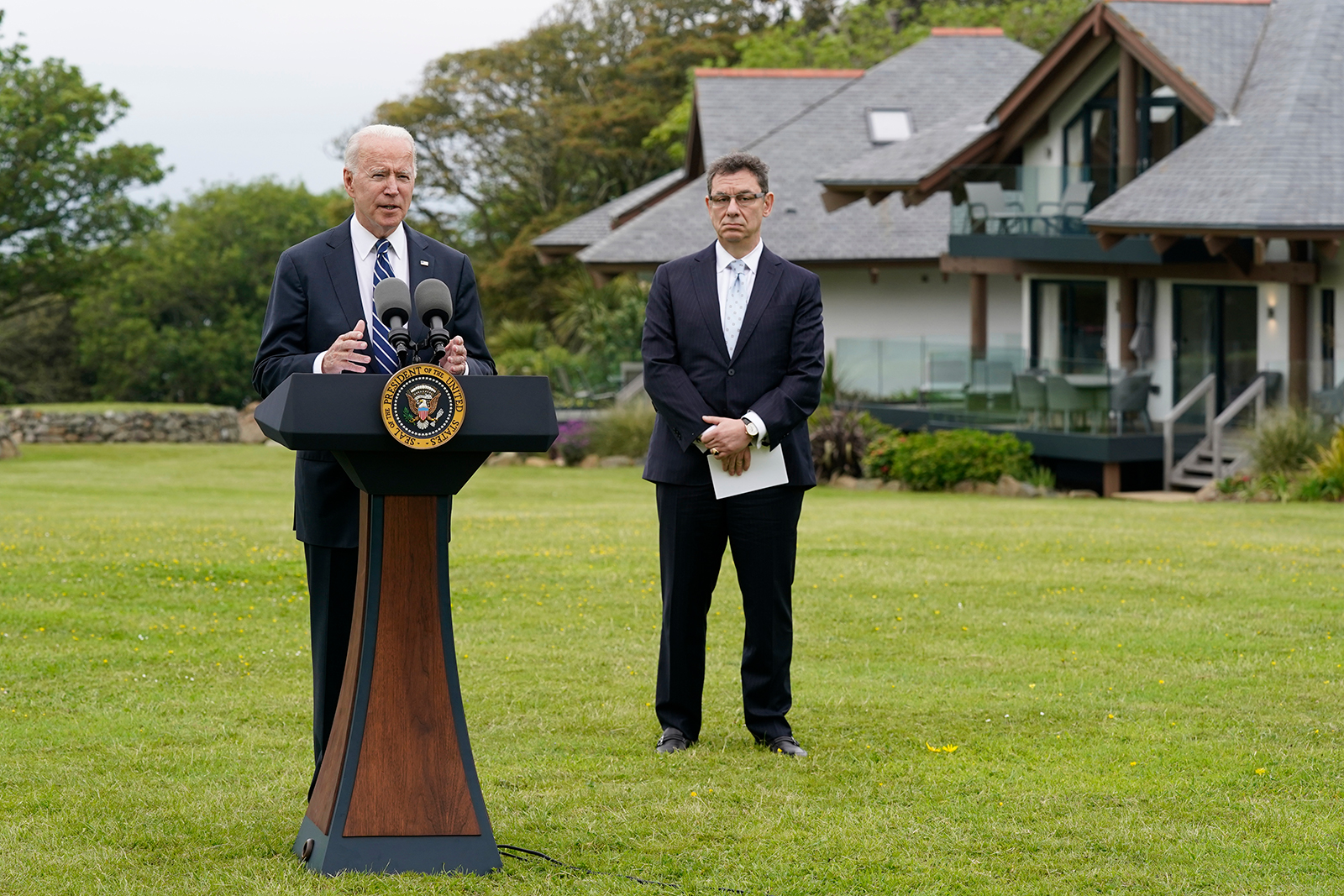President Joe Biden speaks about his administration's global Covid-19 vaccination efforts ahead of the G-7 summit on Thursday in St. Ives, England.