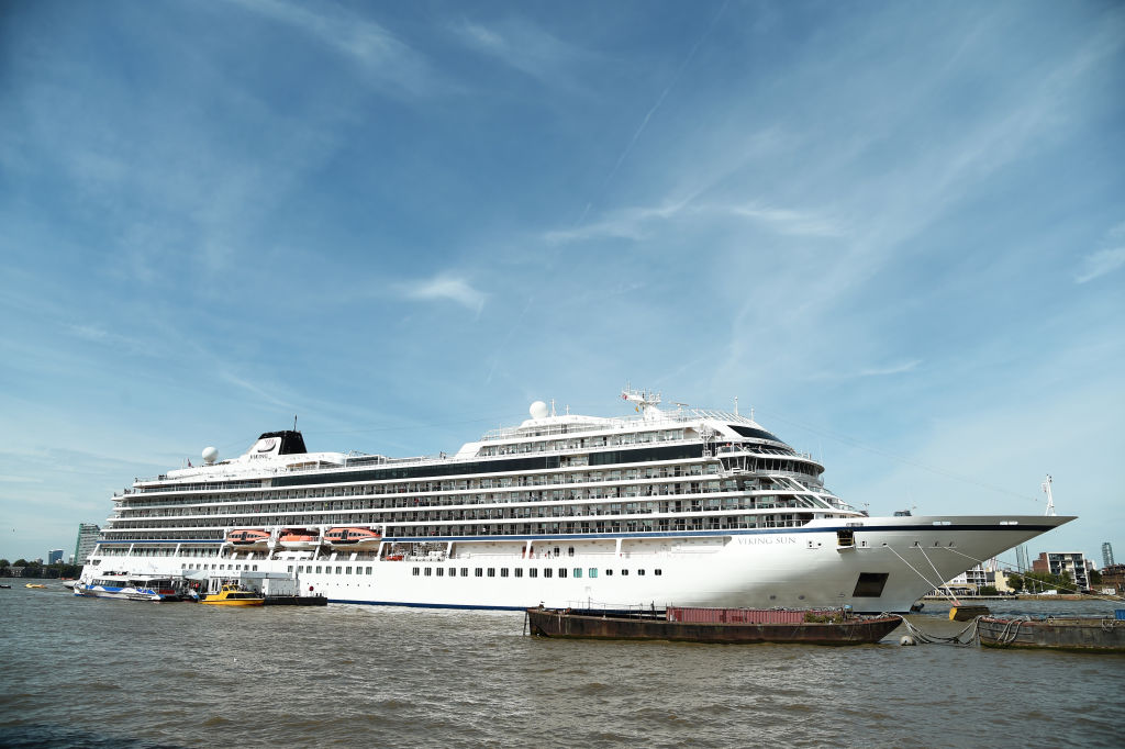 The Viking Sun, operated by Viking Cruises, at London's Greenwich Pier in August 2019.