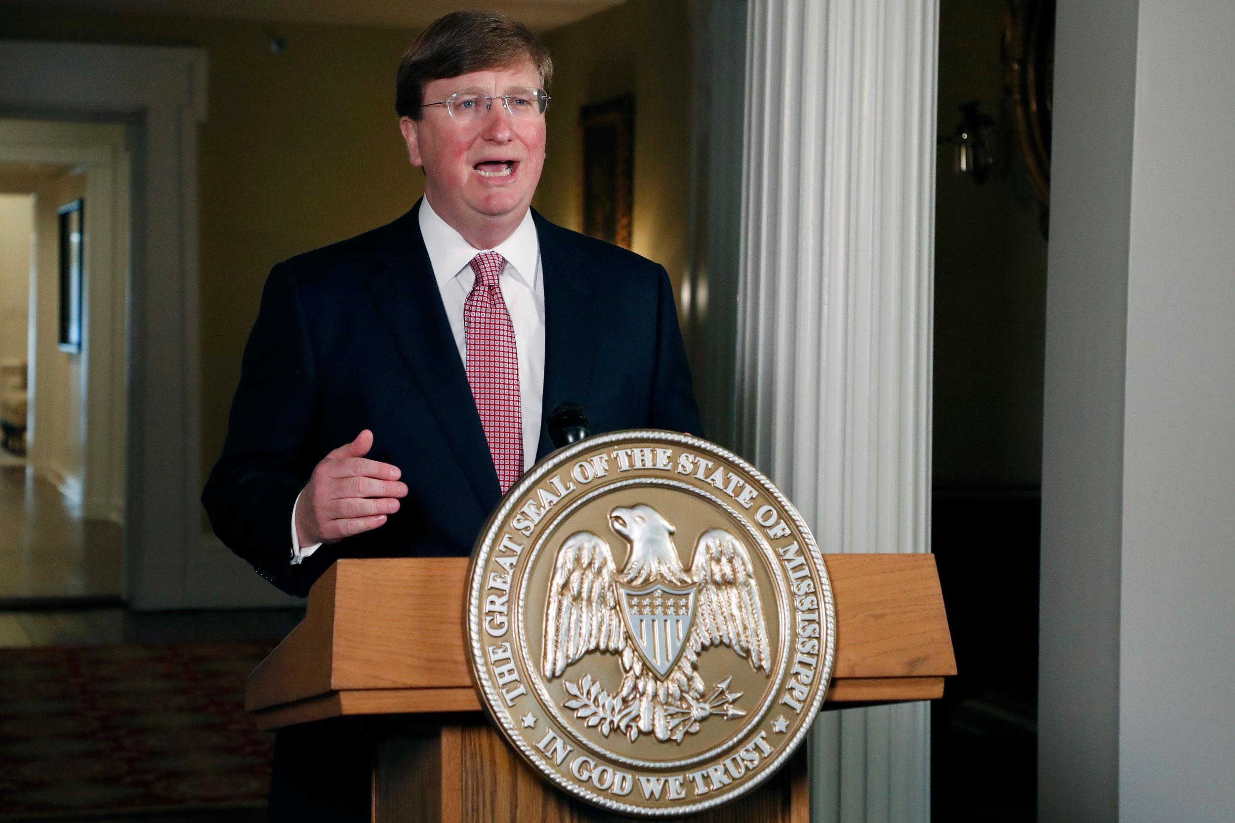 Mississippi Gov. Tate Reeves speaks during a televised address at the Governor's Mansion in Jackson, Mississippi, on June 30.