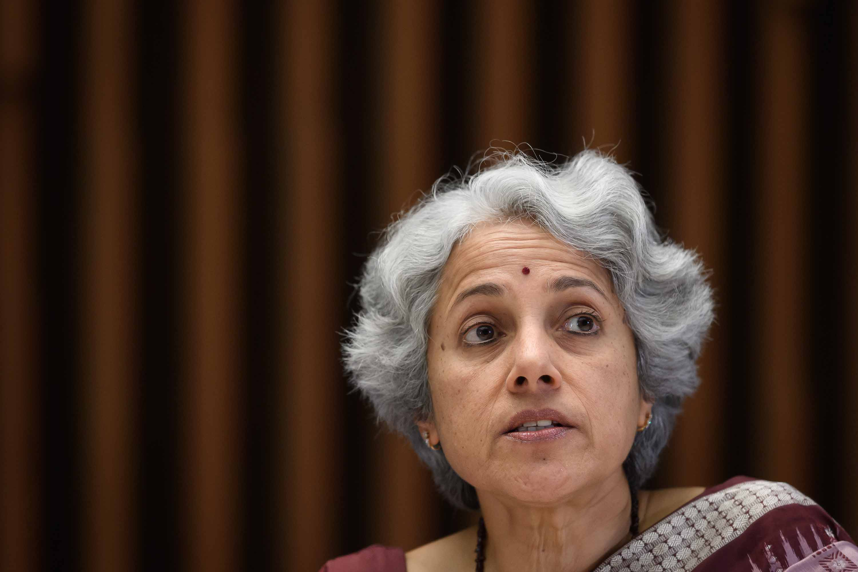 World Health Organization (WHO) Chief scientist Soumya Swaminathan is pictured during a news conference  in Geneva, Switzerland, on January 12.