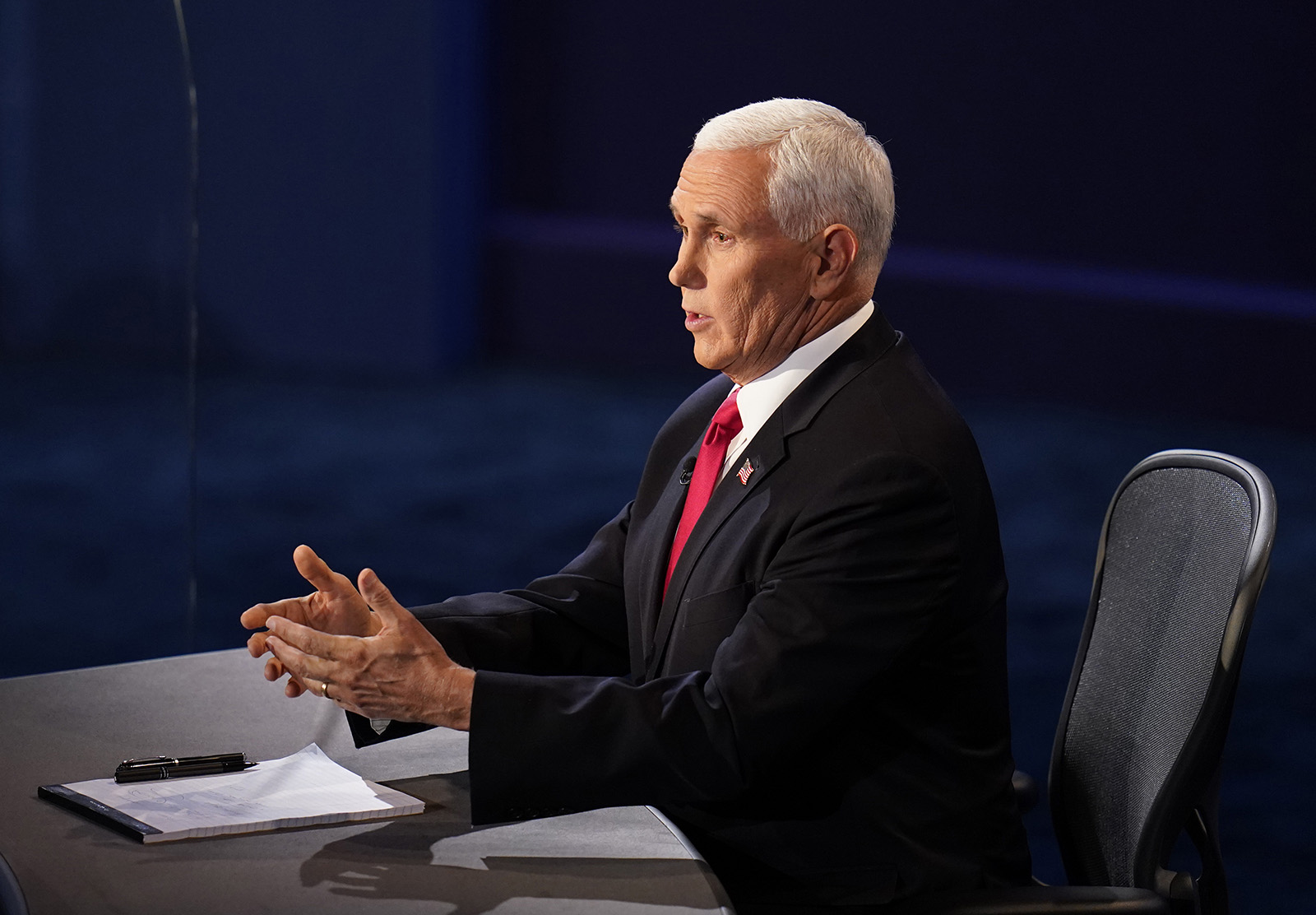 Vice President Mike Pence responds during the vice presidential debate on Wednesday in Salt Lake City.