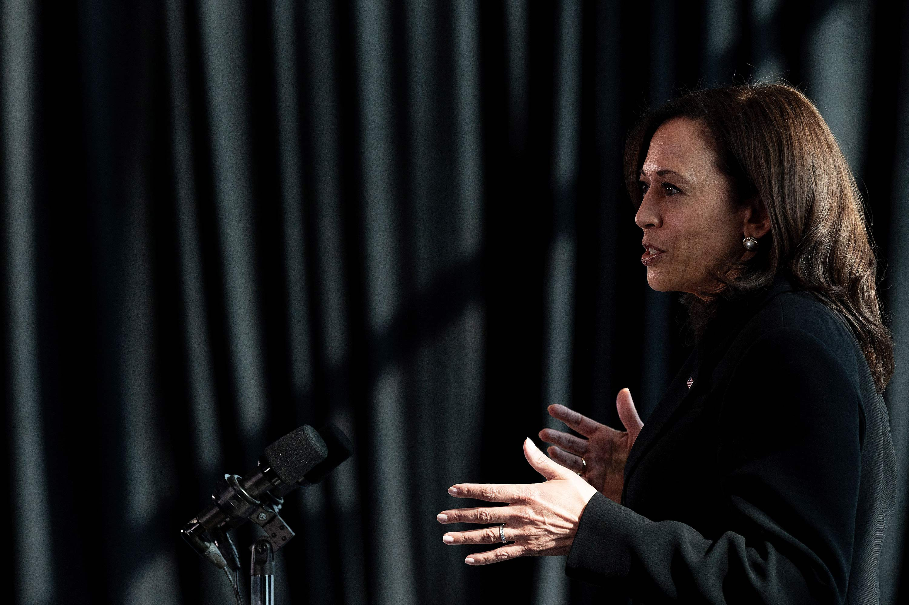 Vice President Kamala Harris speaks during a press conference at the Sofitel Mexico City Reforma in Mexico City on June 8.