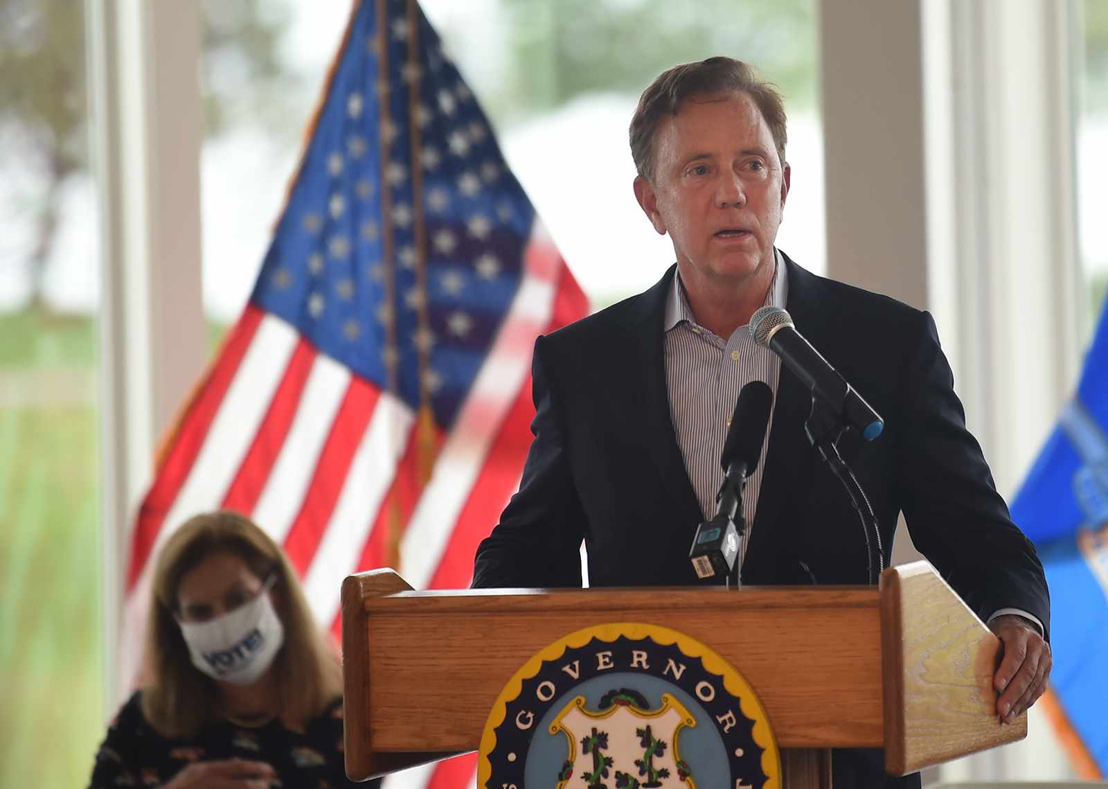 Gov. Ned Lamont speaks at the 19th annual 9/11 Memorial ceremony at Sherwood Island State Park Thursday, September 9, in Westport, Connecticut.