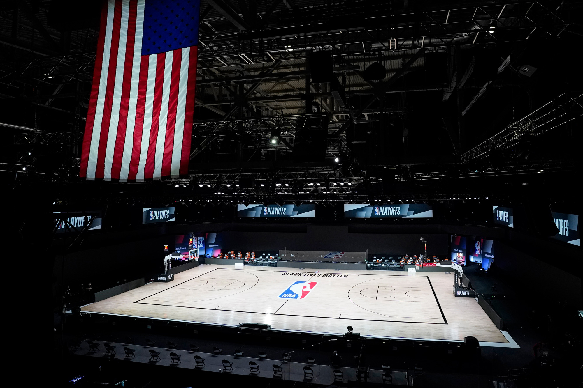 The court sits empty after a postponed NBA basketball first round playoff game between the Milwaukee Bucks and the Orlando Magic on August 26 in Lake Buena Vista, Florida.