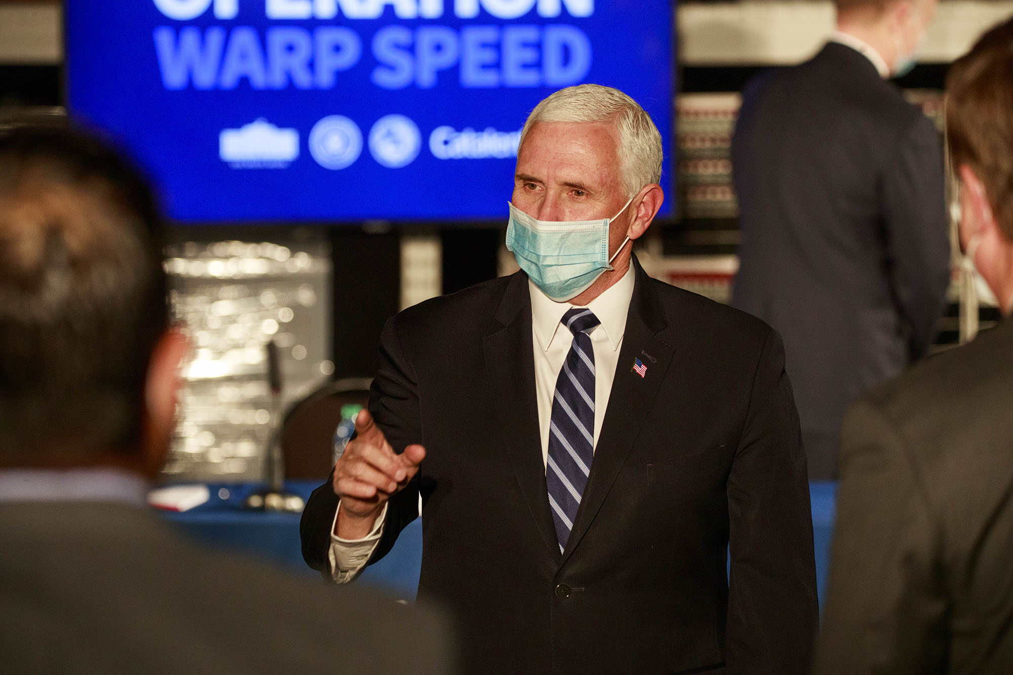 U.S. Vice President Mike Pence speaks during a round table discussion at Catalent Biologics, where COVID-19 vaccine vials are being filled.
