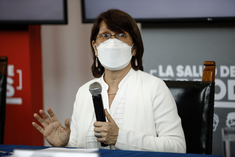 Health Minister Pilar Mazzatti at a press conference in October in Peru.