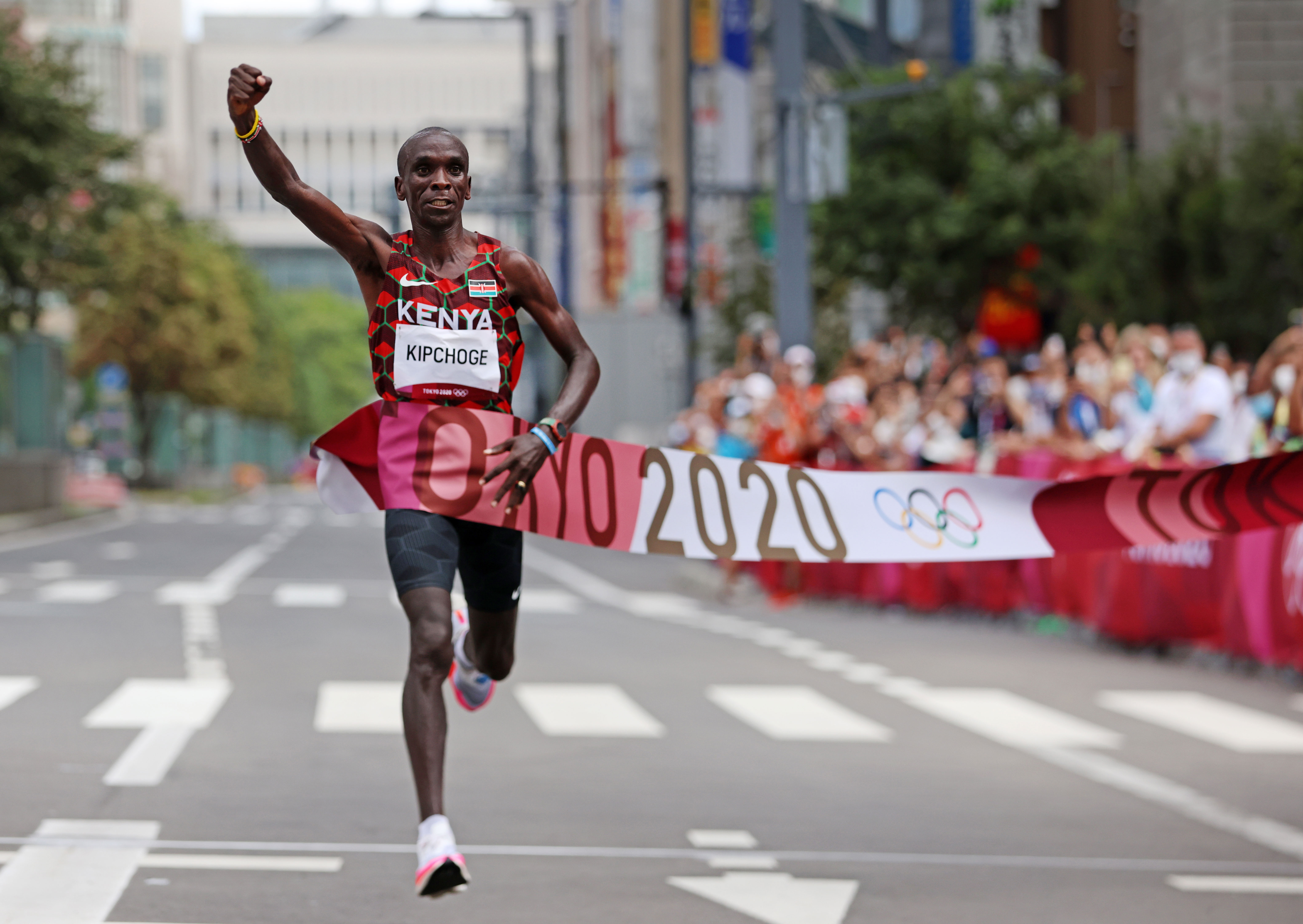 Kenya's Eliud Kipchoge crosses the finish line August 8to win the marathonfor the second Olympics in a row. Kipchoge, the world-record holder in the event, finished with a time of 2:08:38.