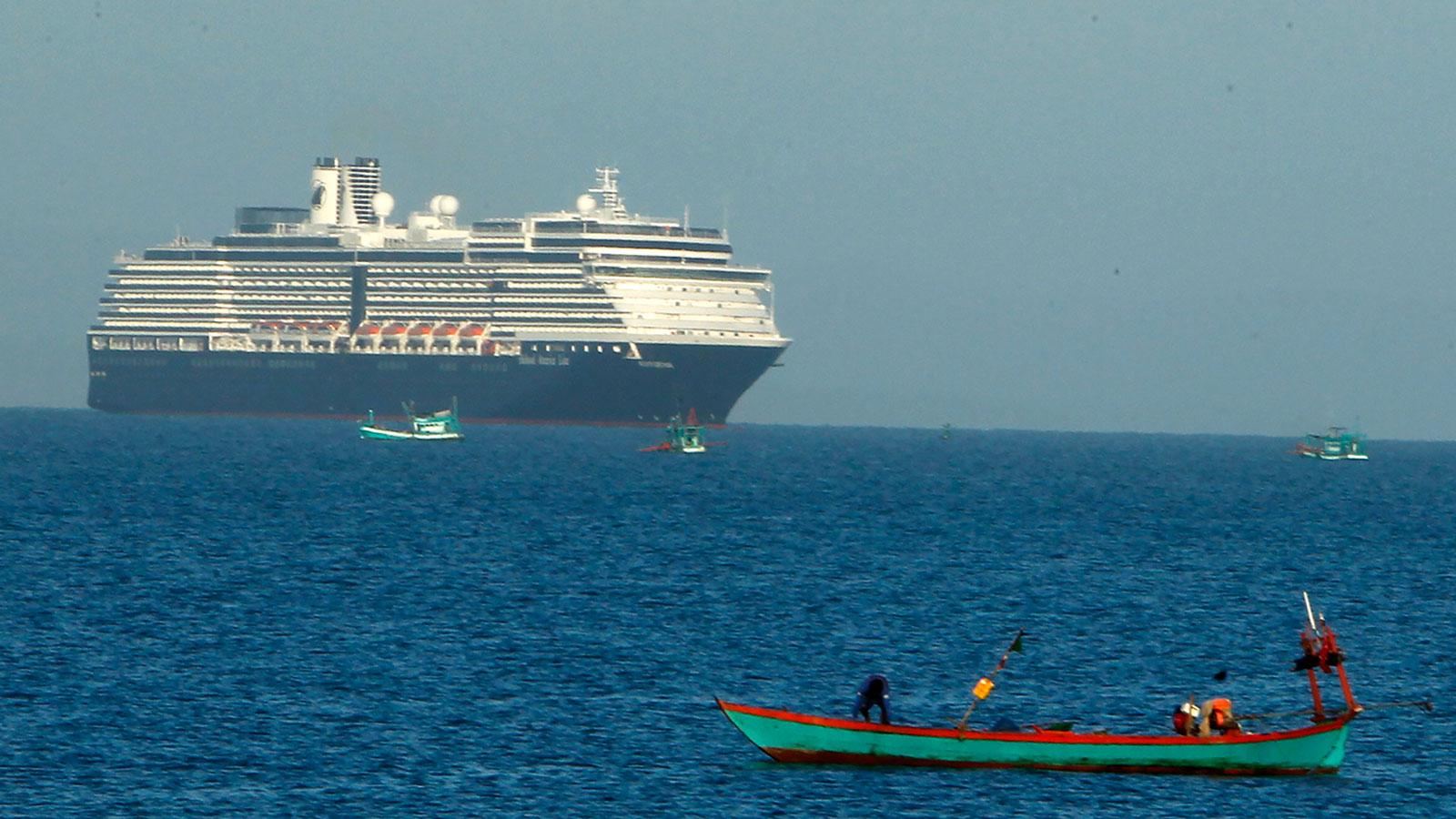 The MS Westerdam sails off Sihanoukville, Cambodia, on Thursday, February 13, 2020.